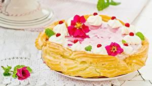 Фотография Торты Выпечка Вблизи Розы Сладости Цветы