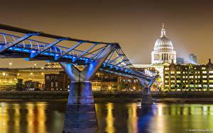 Фотографии Великобритания Река Мост Лондоне В ночи