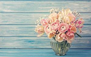 Картинки Букет Тюльпан Лютик Розовые Вазе Цветы