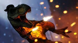 Фото Динозавры Автомат Выстрелил Прыгать Intratec TEC-DC9 T. Rex Jurassic World, jurassic park Фантастика 3D_Графика Животные