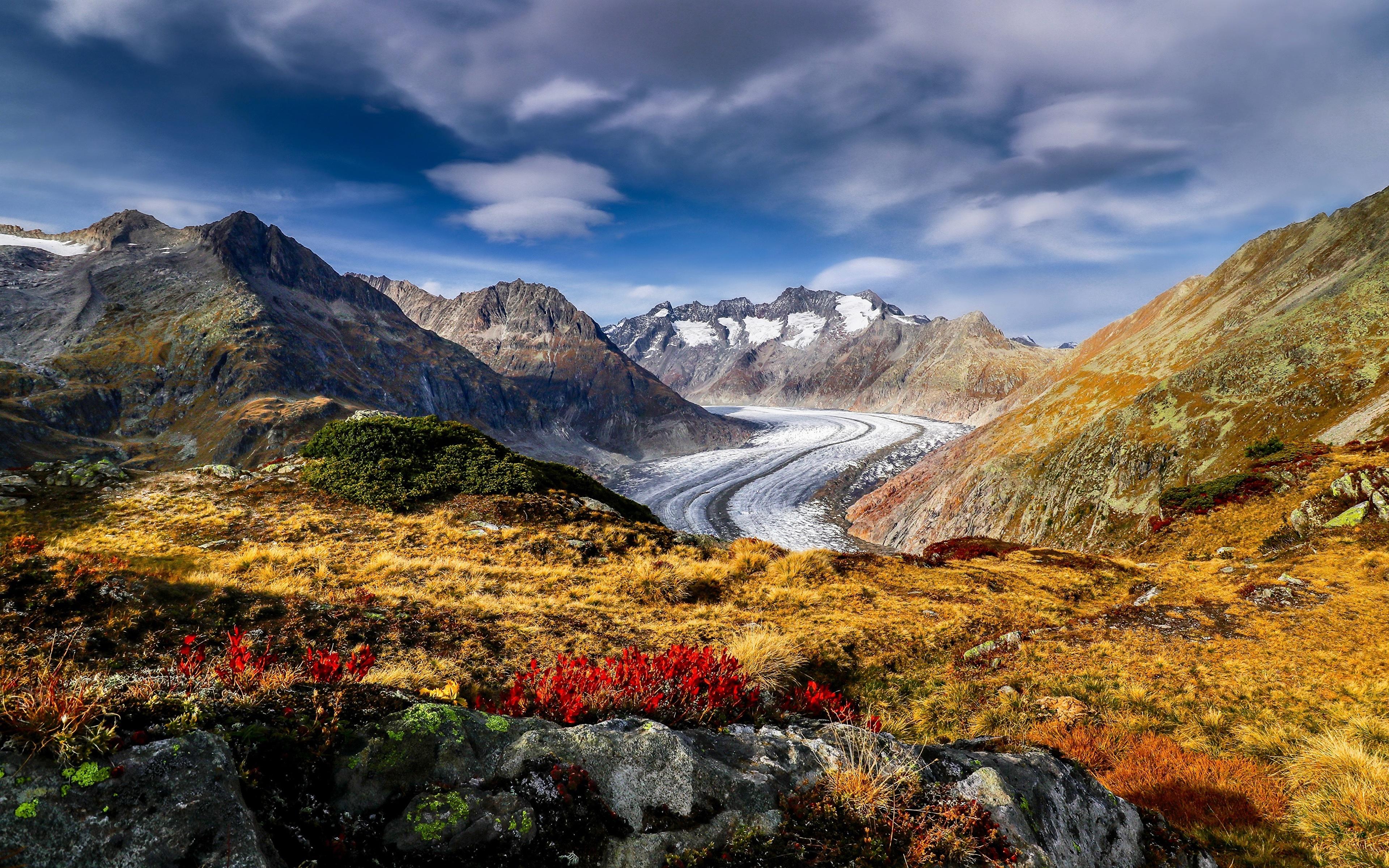 Картинки альп Швейцария Aletsch Glacier Горы Природа 3840x2400 Альпы гора