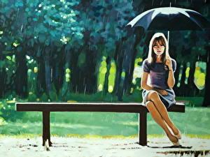 Картинка Картина Рисованные Дождь Зонт Скамья Thomas Saliot, Right as Rain молодая женщина