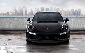 Фото Porsche Спереди Черная 2014 TopCar 911 Carrera Turbo Stinger GTR 991 Автомобили