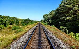Фотографии Железные дороги Рельсах Природа
