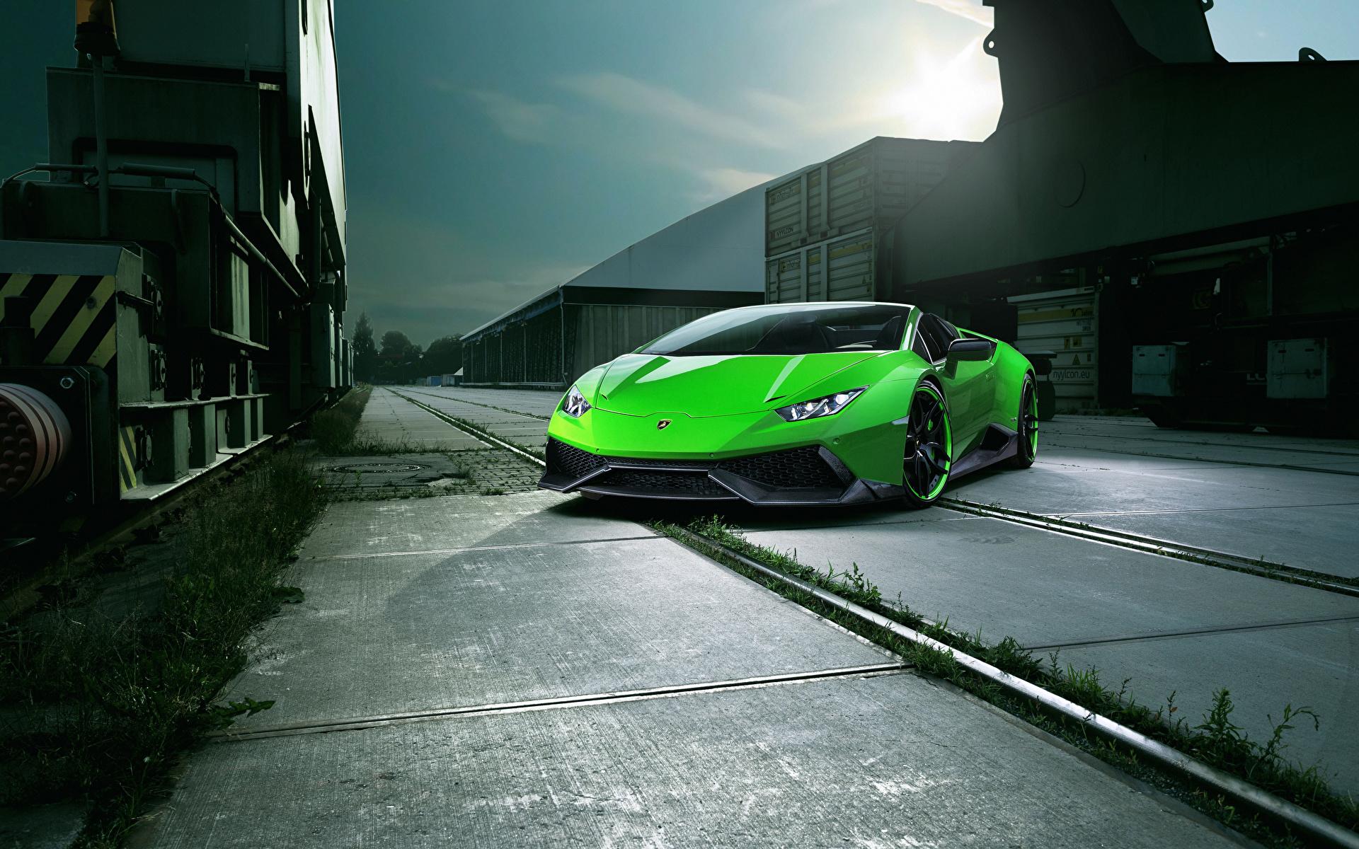 Фотография Ламборгини Huracan Spyder Novitec Torado зеленых Автомобили 1920x1200 Lamborghini Зеленый зеленые зеленая авто машина машины автомобиль