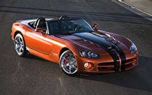 Фотографии Dodge Оранжевый Кабриолет Металлик Полосатый Родстер 2010 Viper SRT10 roadster