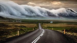 Фото Исландия Дороги Тучи Асфальт Природа