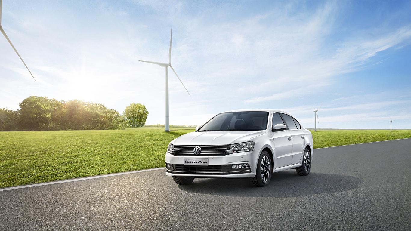 Картинка Volkswagen 2015 Lavida Седан белая Автомобили 1366x768 Фольксваген Белый белые белых авто машины машина автомобиль