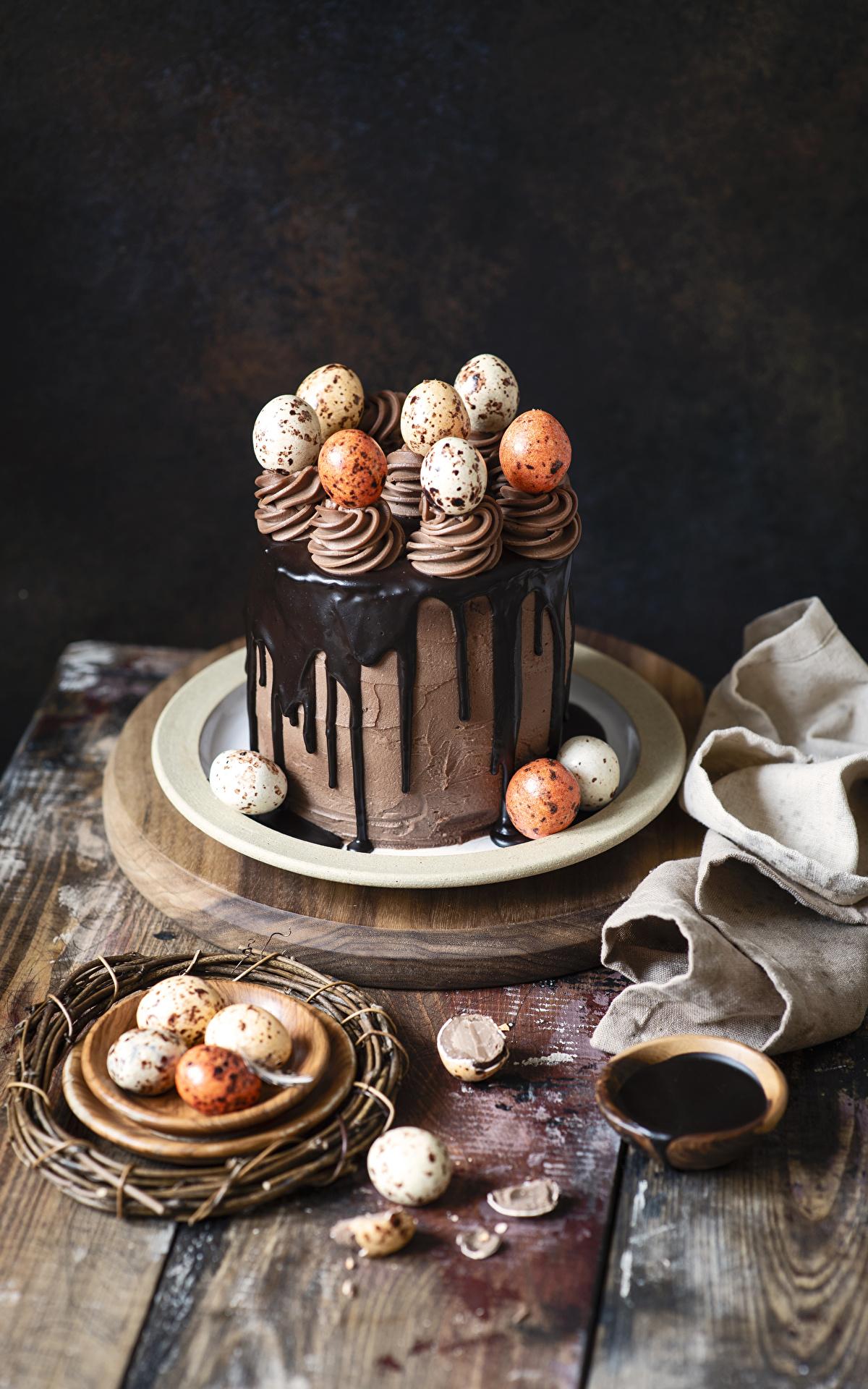 Картинка Пасха Яйца Шоколад Торты Пища Сладости 1200x1920 Еда Продукты питания