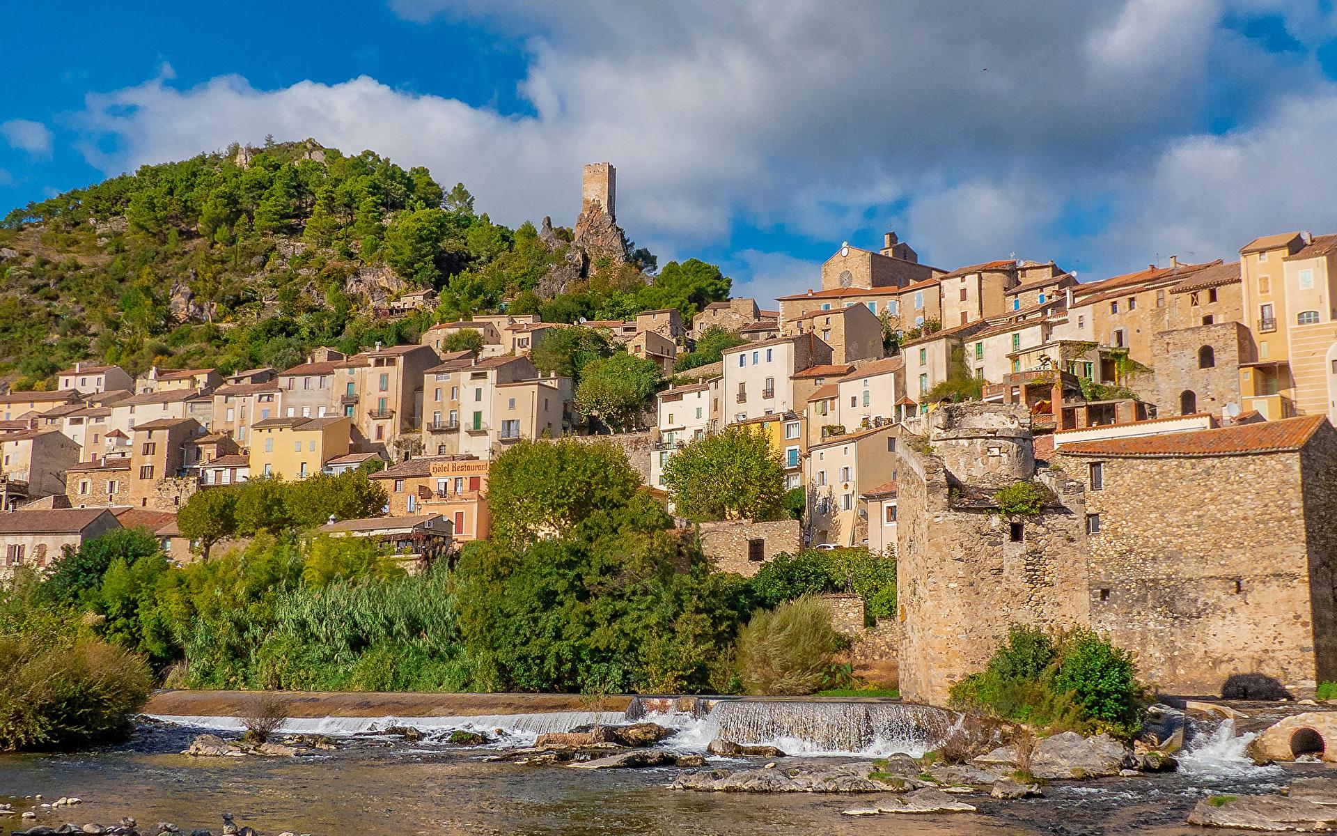 Фотография Франция Roquebrun холм Побережье Здания Города 1920x1200 Холмы холмов берег Дома город