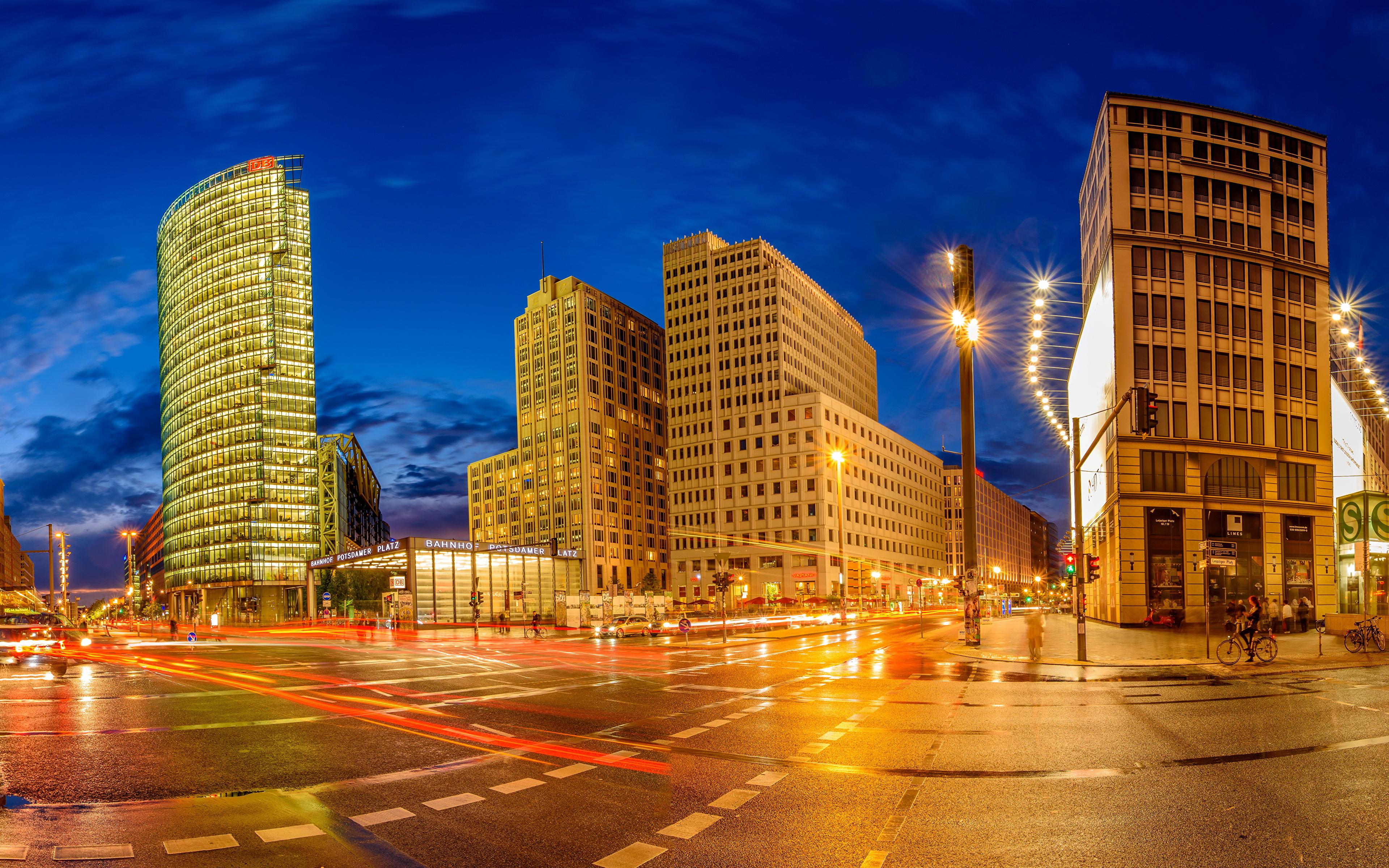 Обои германия, berlin, ночь, фонари, улица. Города foto 19
