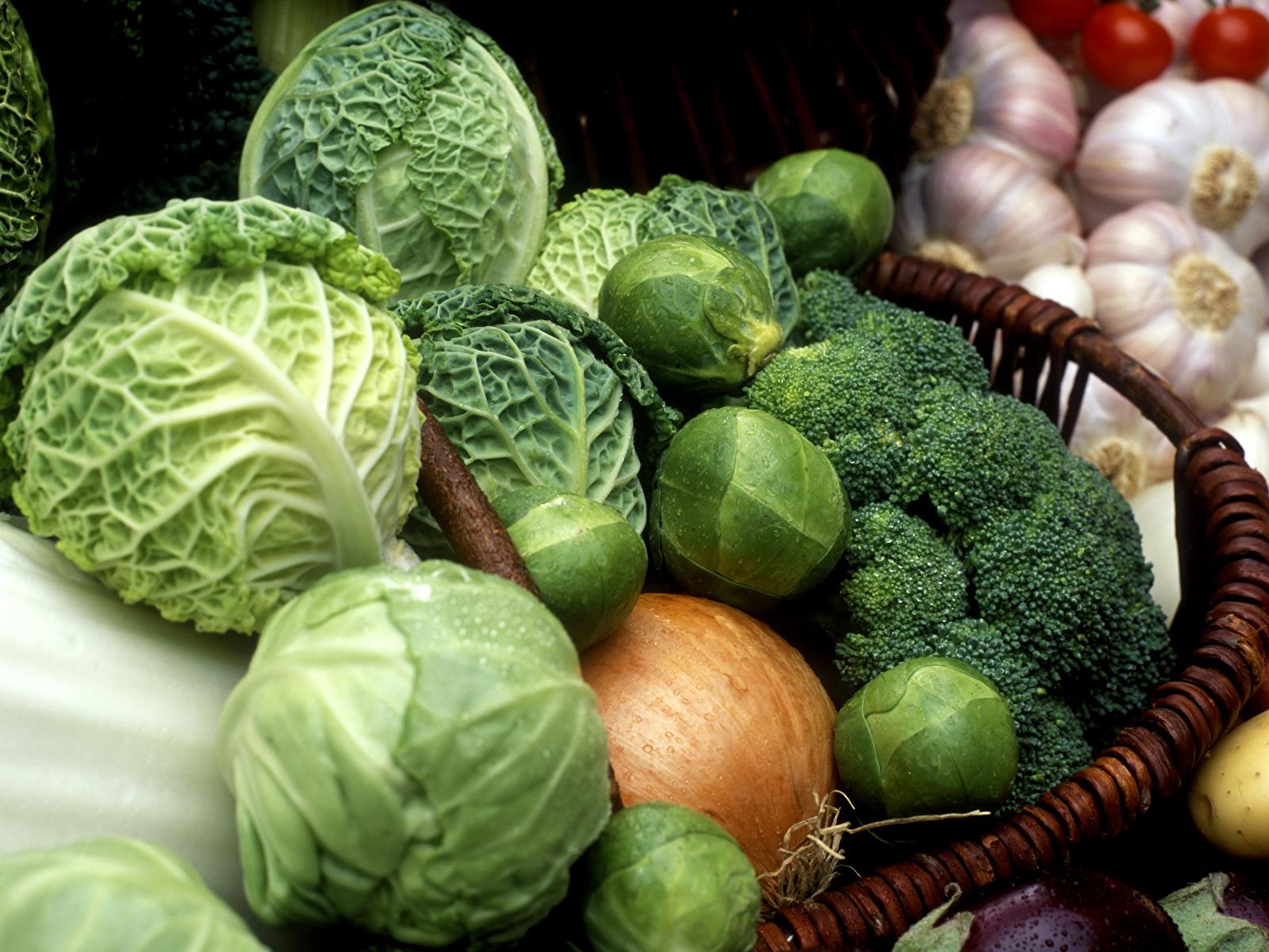 Обои для рабочего стола Капуста Лук репчатый Пища Овощи Много 1600x1200 Еда Продукты питания