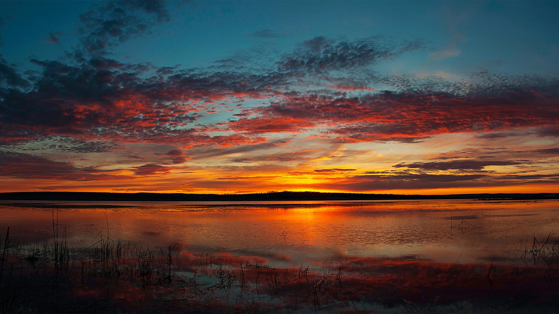Фотографии Природа Небо Рассветы и закаты Реки облачно 1920x1080 рассвет и закат река речка облако Облака