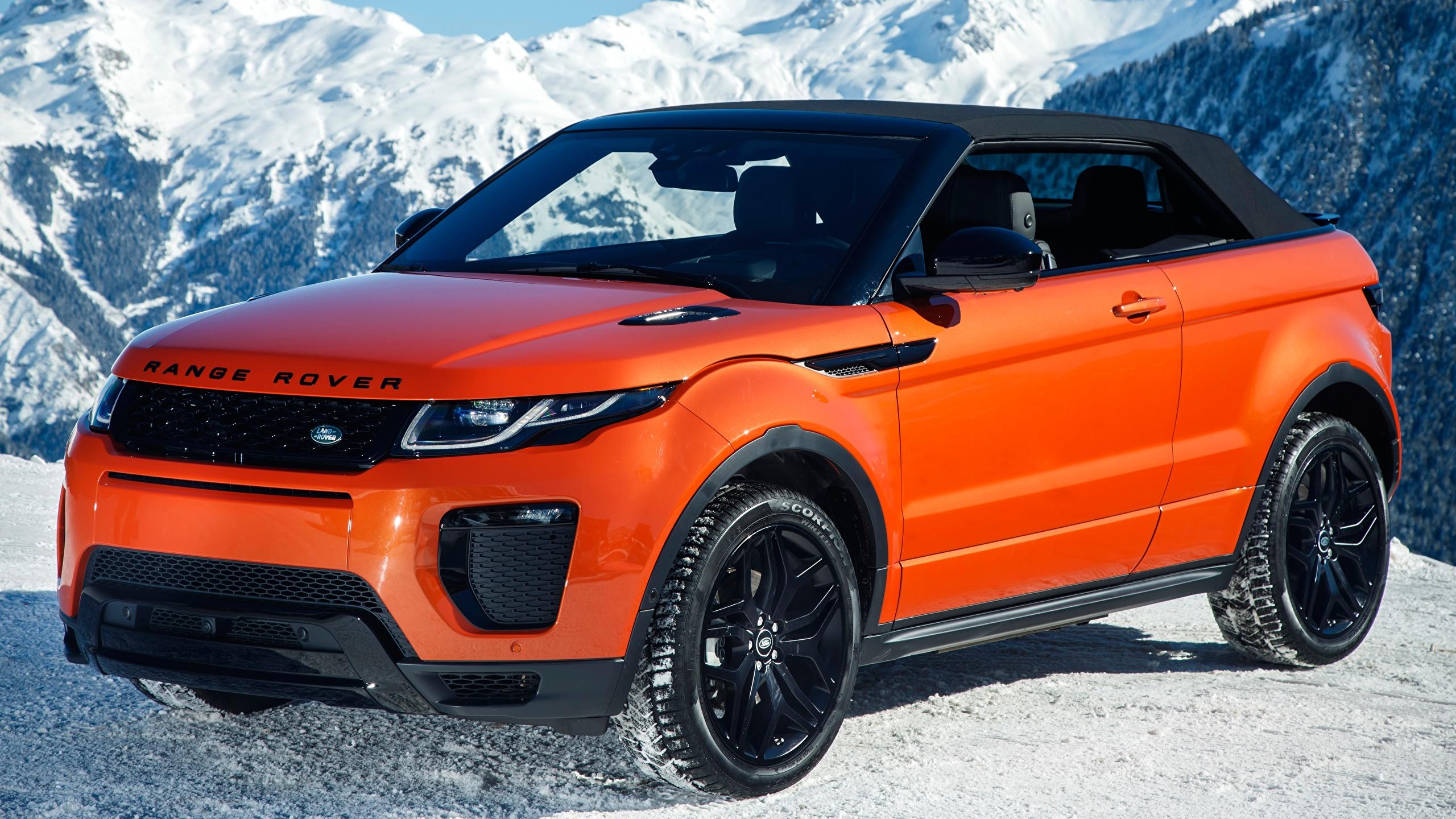 Обои для рабочего стола Land Rover Кроссовер Evoque, Convertible HSE Dynamic, 2016 оранжевая машина Металлик 2560x1440 Range Rover CUV Оранжевый оранжевые оранжевых авто машины Автомобили автомобиль