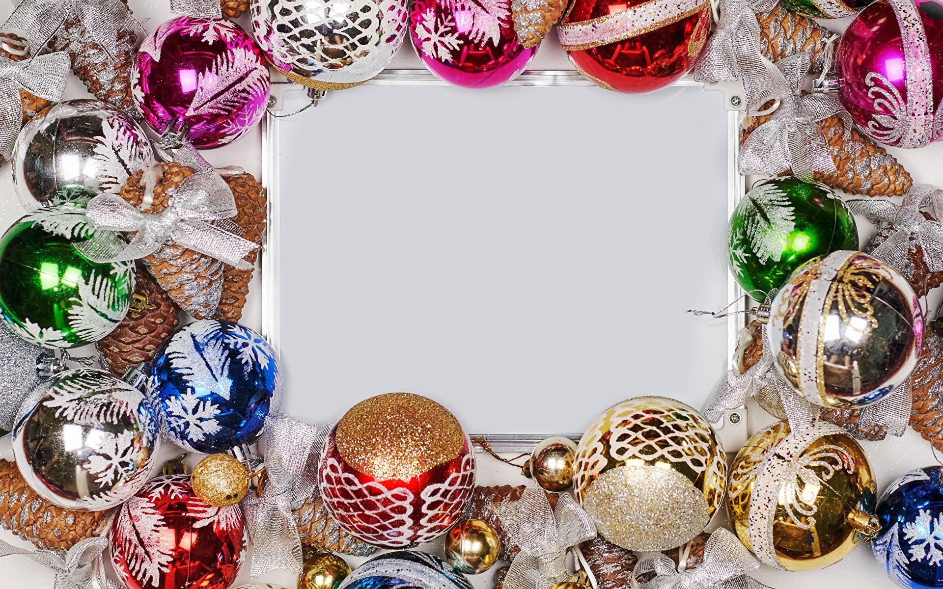 Обои для рабочего стола Новый год Шарики бантики Шаблон поздравительной открытки 1920x1200 Рождество Шар бант Бантик