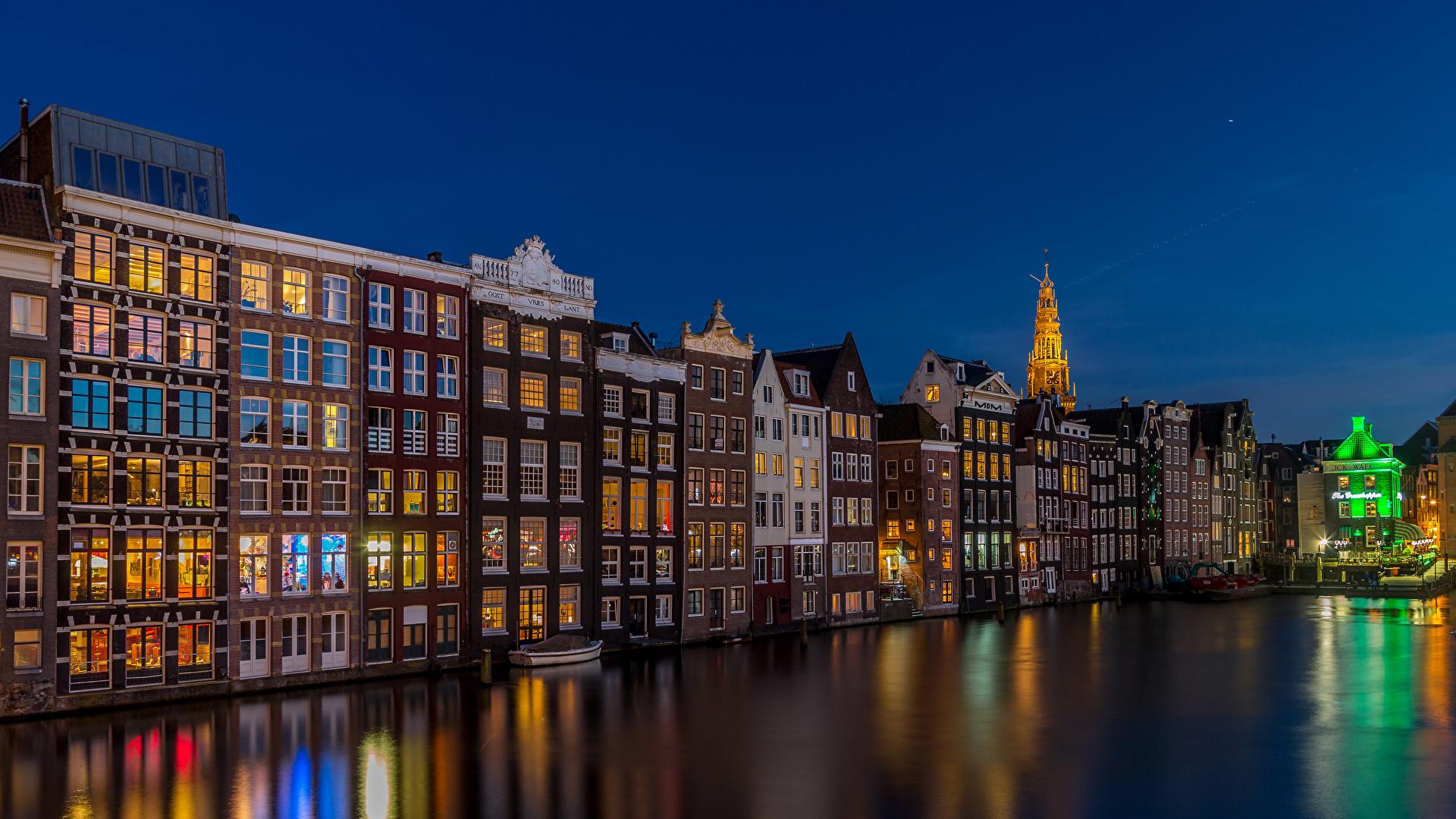 Обои канал, нидерланды, дома, ночь. Города foto 10