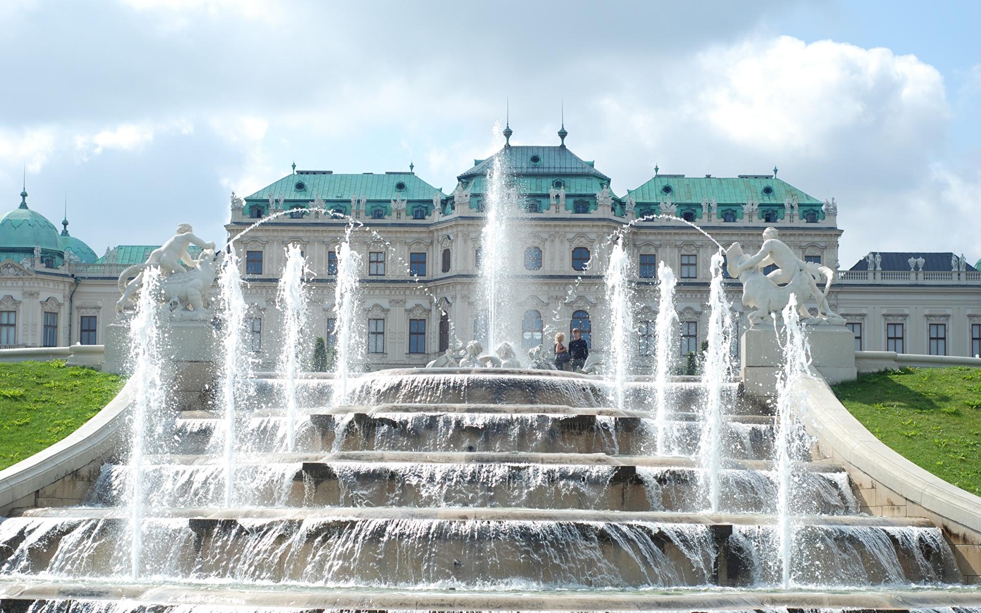 Фотографии Вена дворца Австрия Фонтаны Palace complex Belvedere Города скульптура 1920x1200 Дворец город Скульптуры
