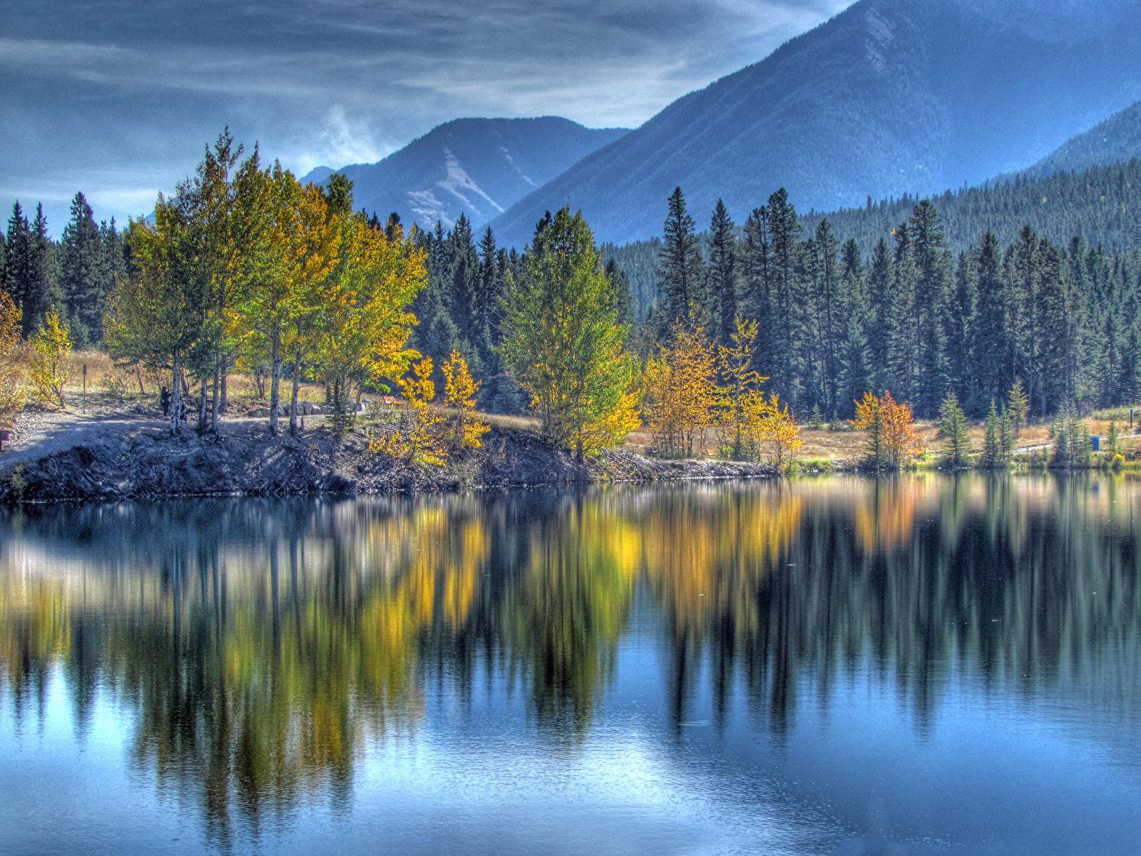 Фотография Канада canmore alberta HDRI Горы Осень Природа лес Озеро Пейзаж дерева 1600x1200 HDR гора осенние Леса дерево Деревья деревьев