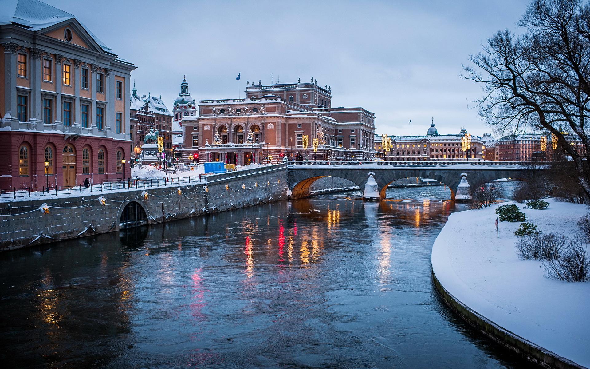 архитектура страны город река Стокгольм Швеция бесплатно