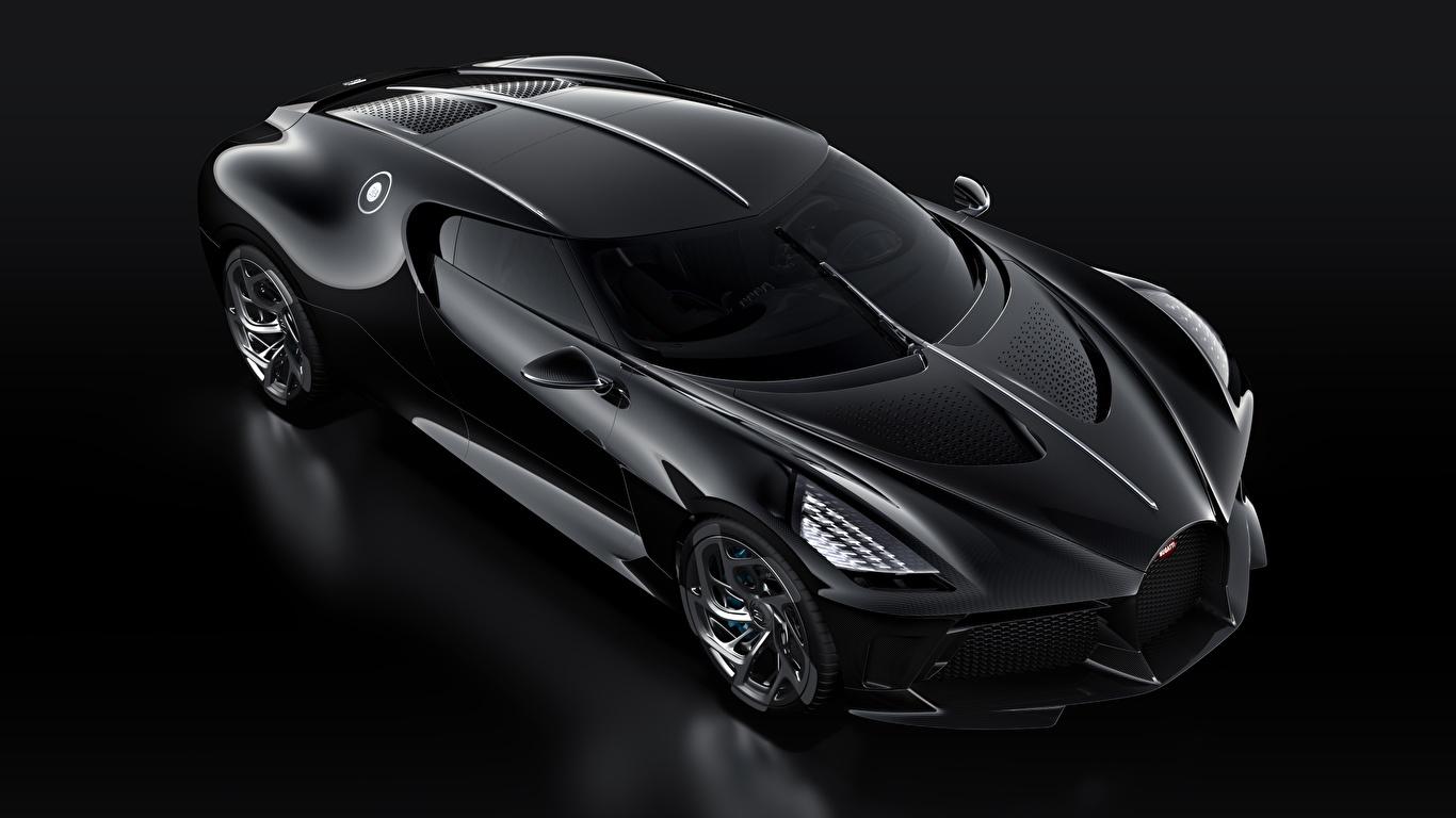 Картинка BUGATTI La Voiture Noire черные Автомобили Черный фон 1366x768 черных Черный черная авто машина машины автомобиль на черном фоне