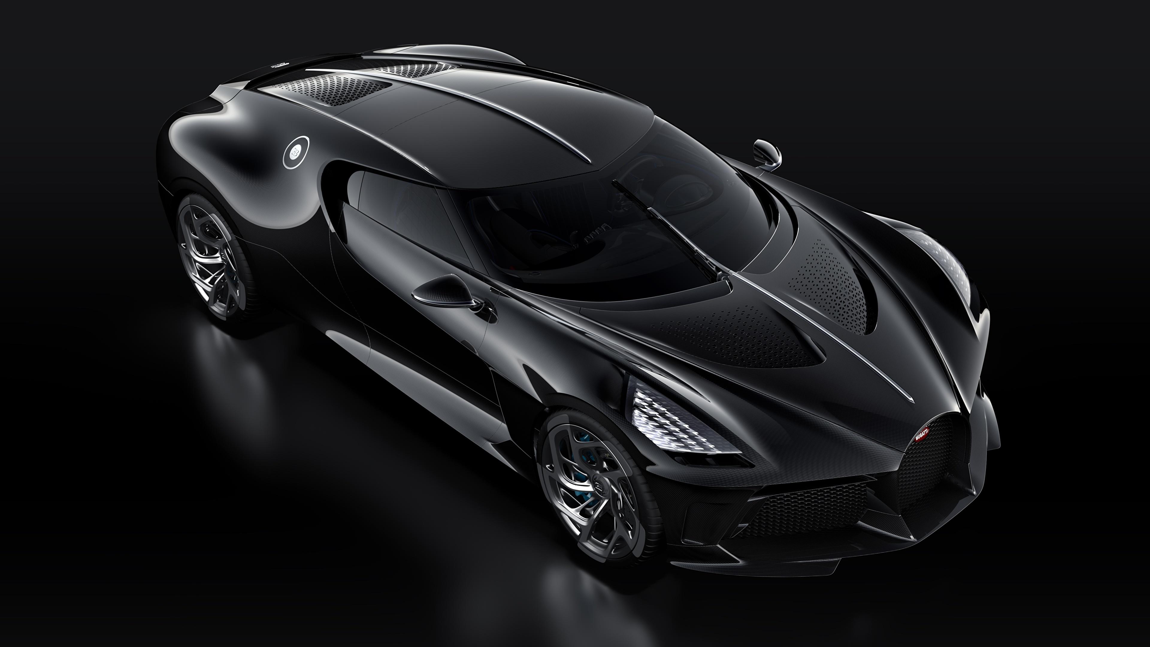 Картинка BUGATTI La Voiture Noire черные Машины Черный фон 3840x2160 черных Черный черная Авто Автомобили