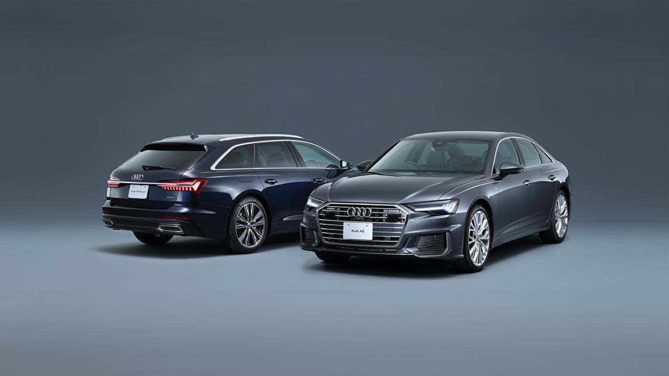 Фотографии Audi Универсал A6, Avant, S Line вдвоем Металлик Автомобили 1366x768 Ауди 2 два две Двое авто машина машины автомобиль