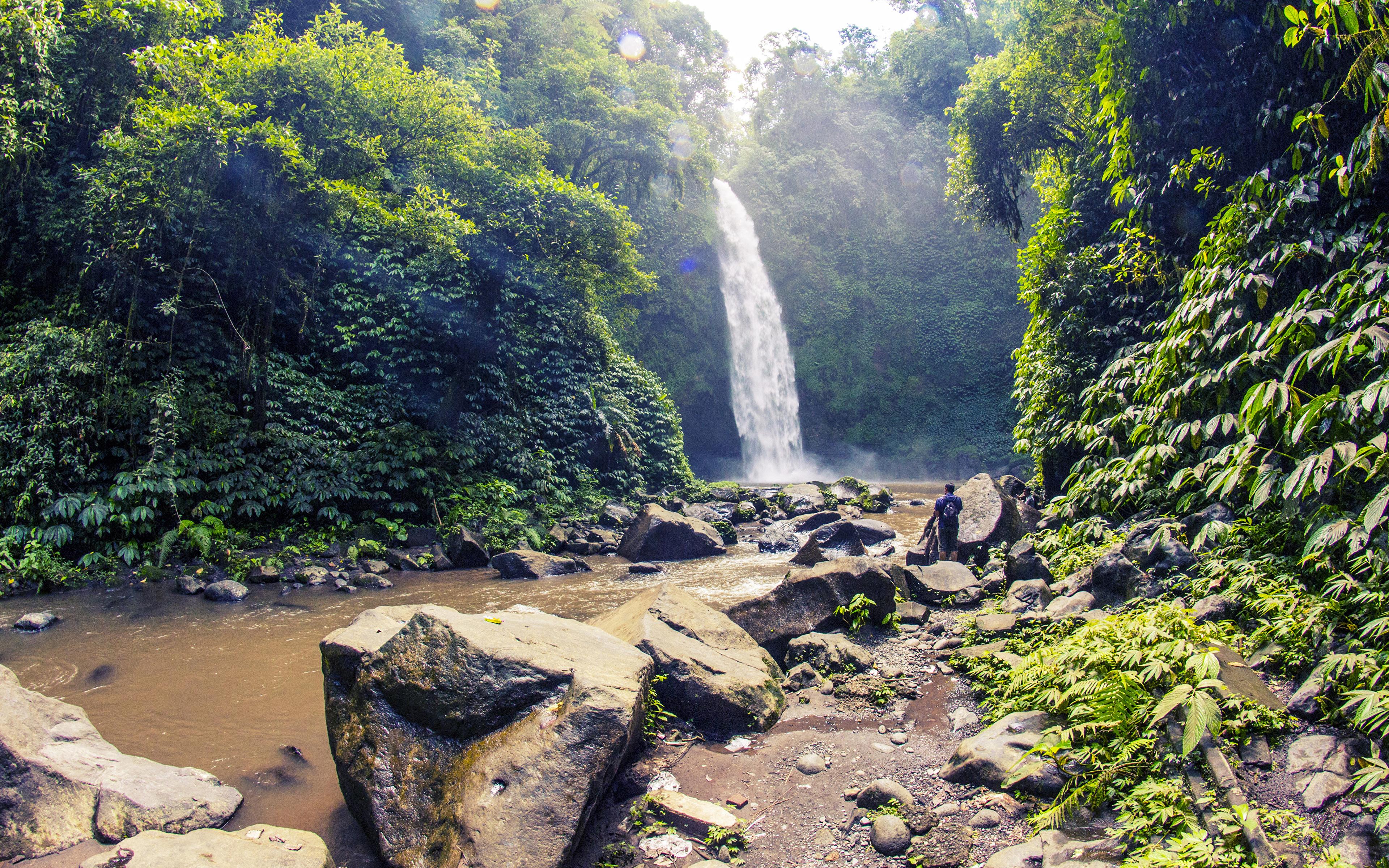 Обои для рабочего стола Индонезия Bali Скала Природа Водопады Тропики Камень Кусты 3840x2400 Утес скалы скале тропический Камни кустов