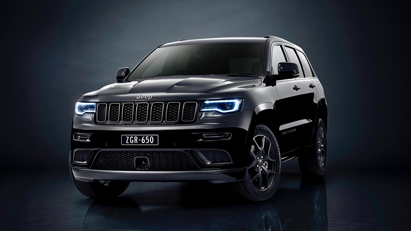 Фотографии Jeep Grand Cherokee Limited 2019 Grand Cherokee S Черный Металлик автомобиль 1366x768 Джип черных черные черная авто машина машины Автомобили