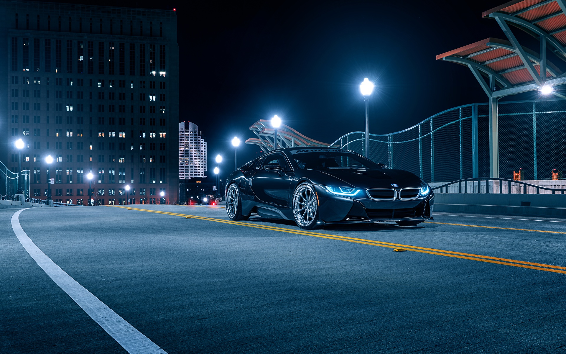 Обои для рабочего стола BMW Aristo, i8 черная Ночь авто 1920x1200 БМВ Черный черные черных ночью в ночи Ночные машины машина Автомобили автомобиль