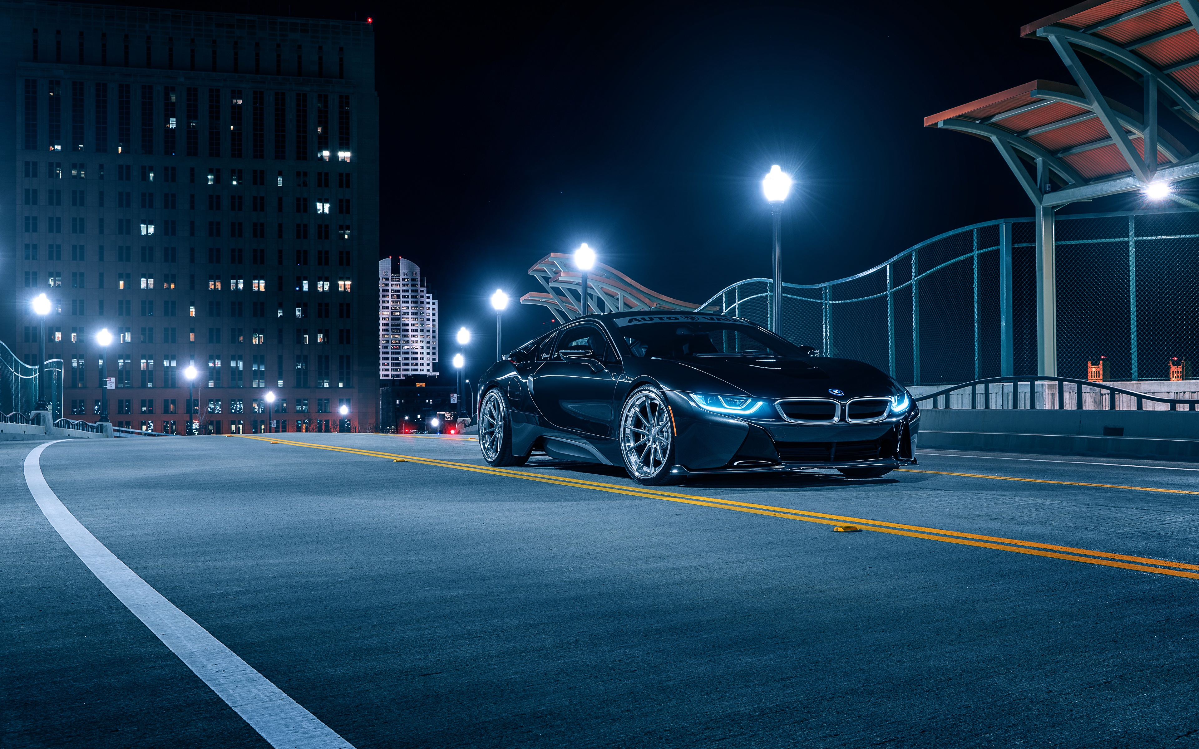 Обои для рабочего стола BMW Aristo, i8 черная Ночь авто 3840x2400 БМВ Черный черные черных ночью в ночи Ночные машины машина Автомобили автомобиль