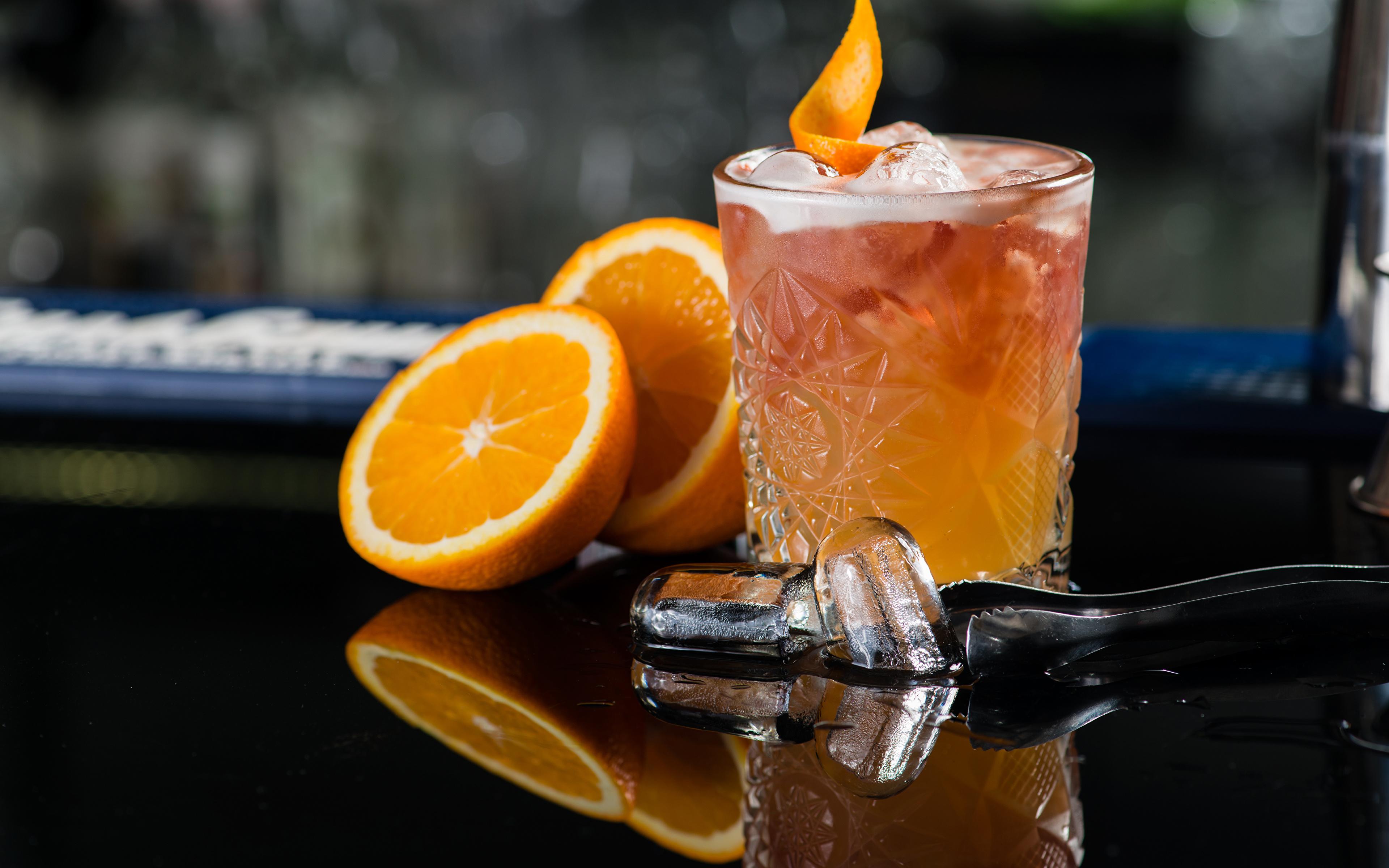 Обои для рабочего стола Алкогольные напитки льда Апельсин стакана Еда Коктейль 3840x2400 Лед Стакан стакане Пища Продукты питания