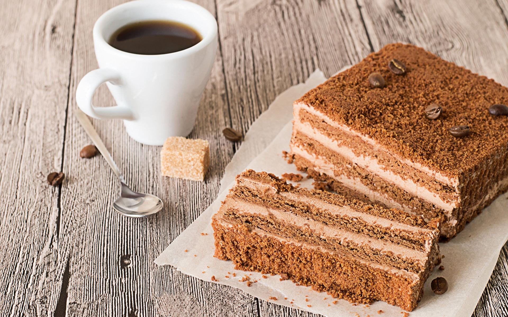 Картинка Кофе Сахар Торты Зерна Кусок Еда ложки чашке Доски 1920x1200 зерно часть Пища Ложка Чашка Продукты питания