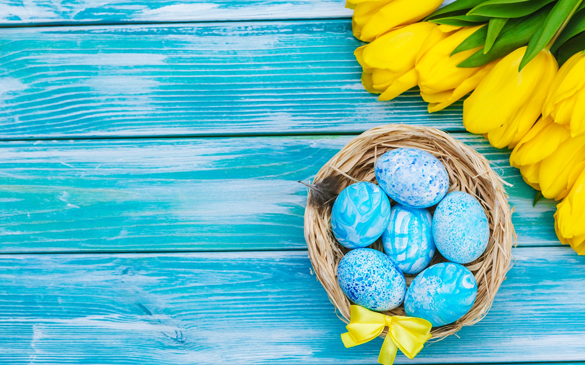 Фото Пасха Яйца Тюльпаны Шаблон поздравительной открытки Доски 1920x1200 яиц яйцо яйцами тюльпан
