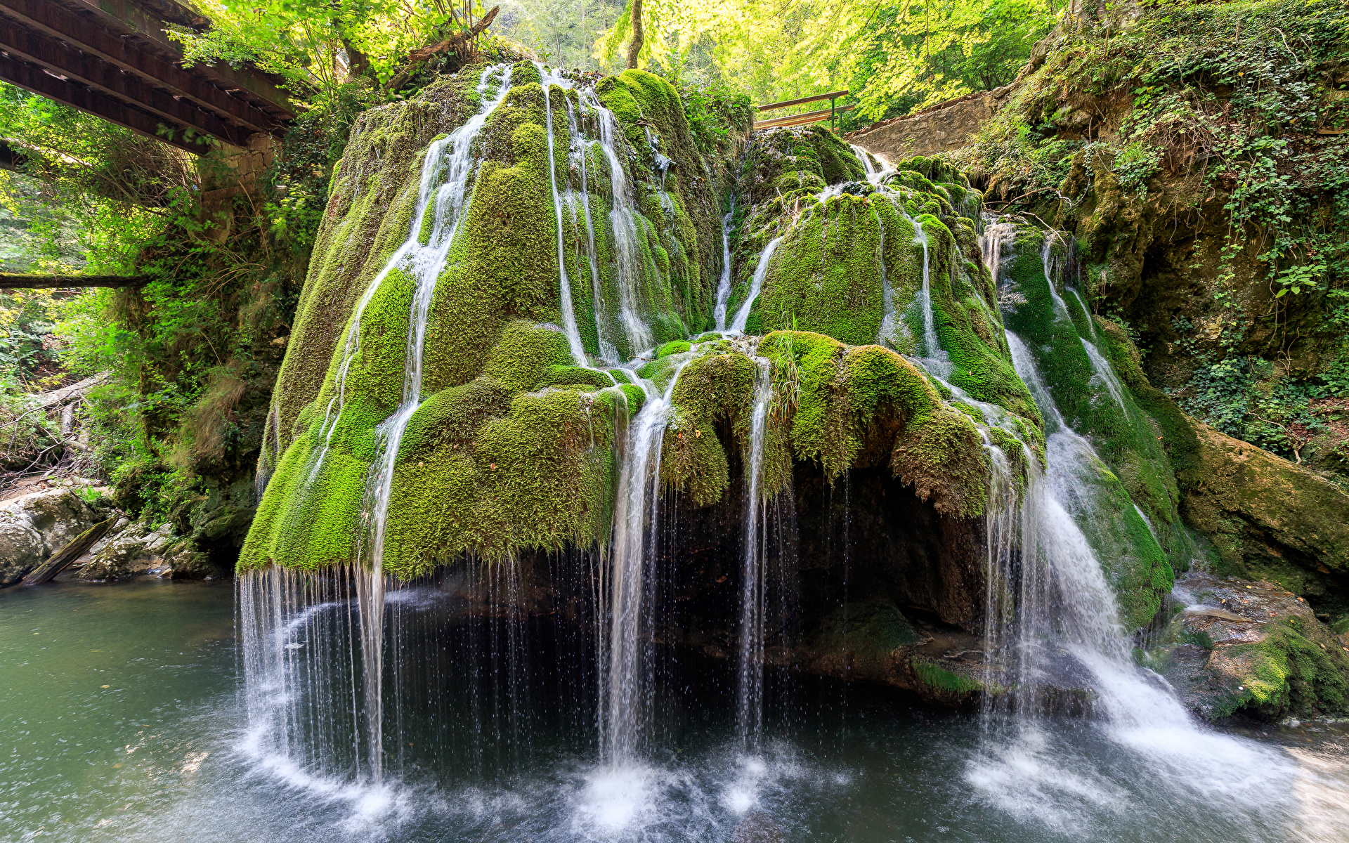 Картинка Румыния Bigar Waterfall Скала Природа Водопады Мох 1920x1200 Утес