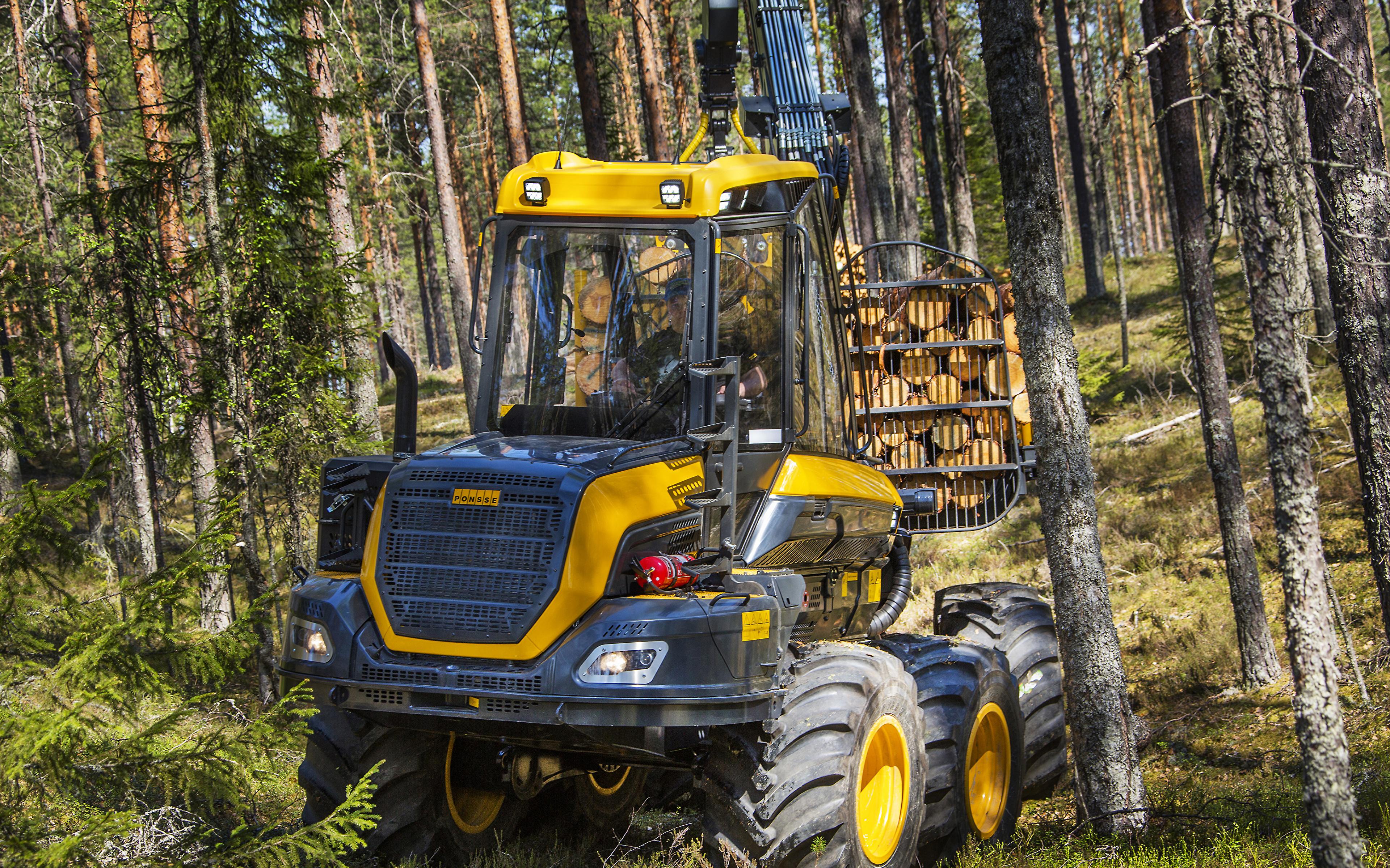 Картинка Форвардер 2014-17 Ponsse Wisent 8w Леса Деревья 3840x2400 лес дерево дерева деревьев
