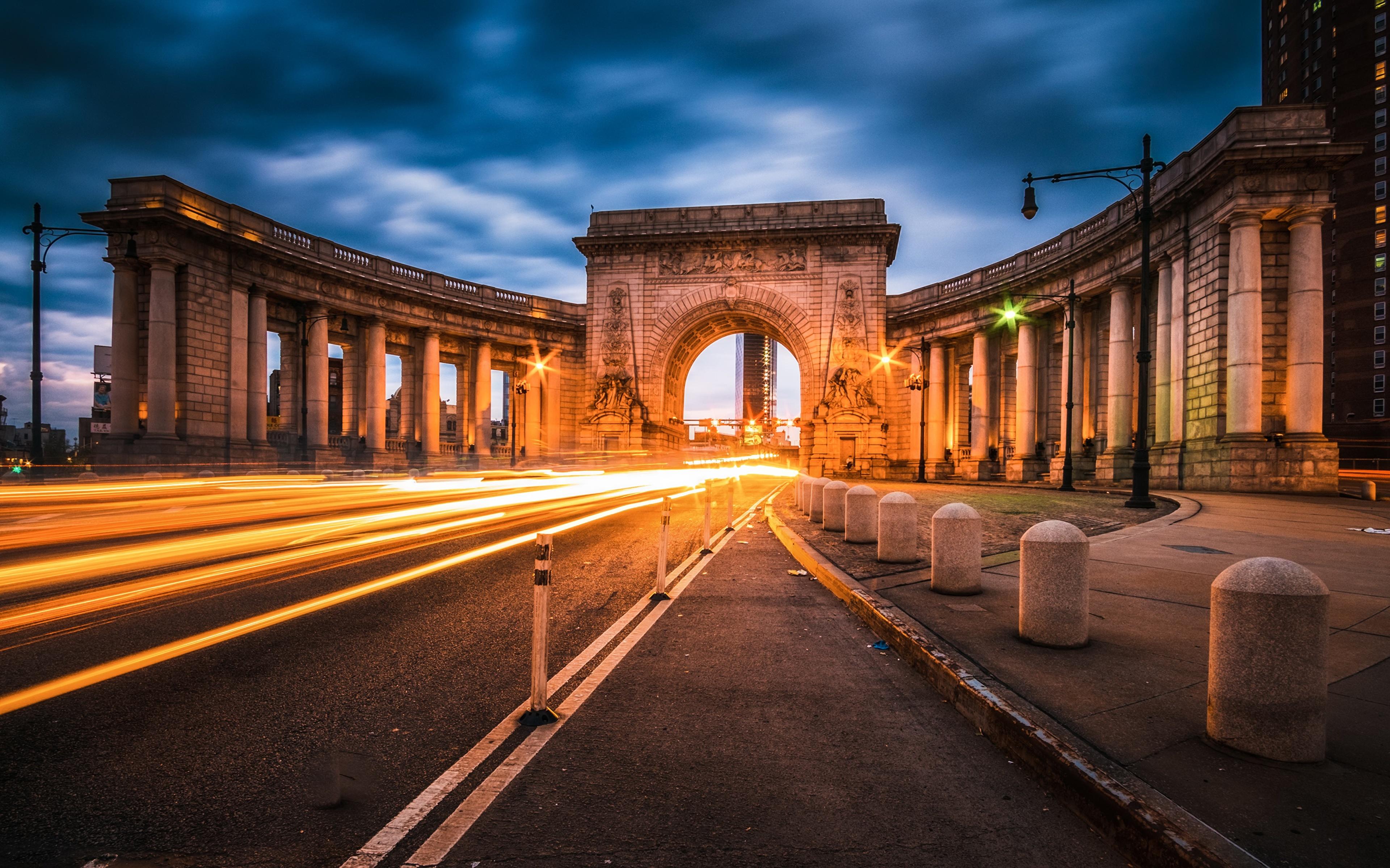 Картинки Манхэттен США Арка Manhattan Bridge Дороги Вечер город 3840x2400 штаты америка арки Города
