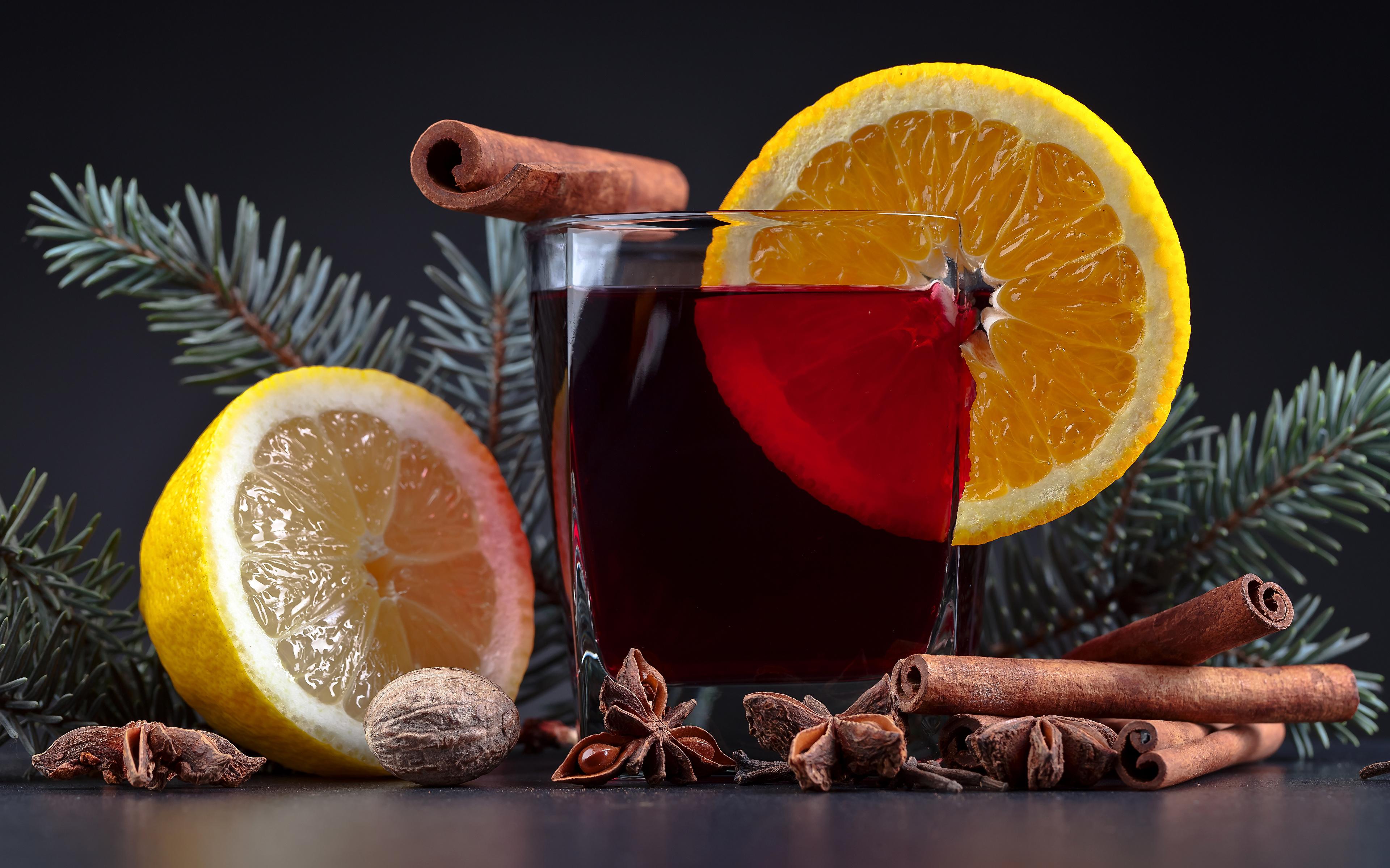 Фотография Новый год Лимоны Корица стакане Еда Напитки 3840x2400 Рождество Стакан стакана Пища Продукты питания напиток