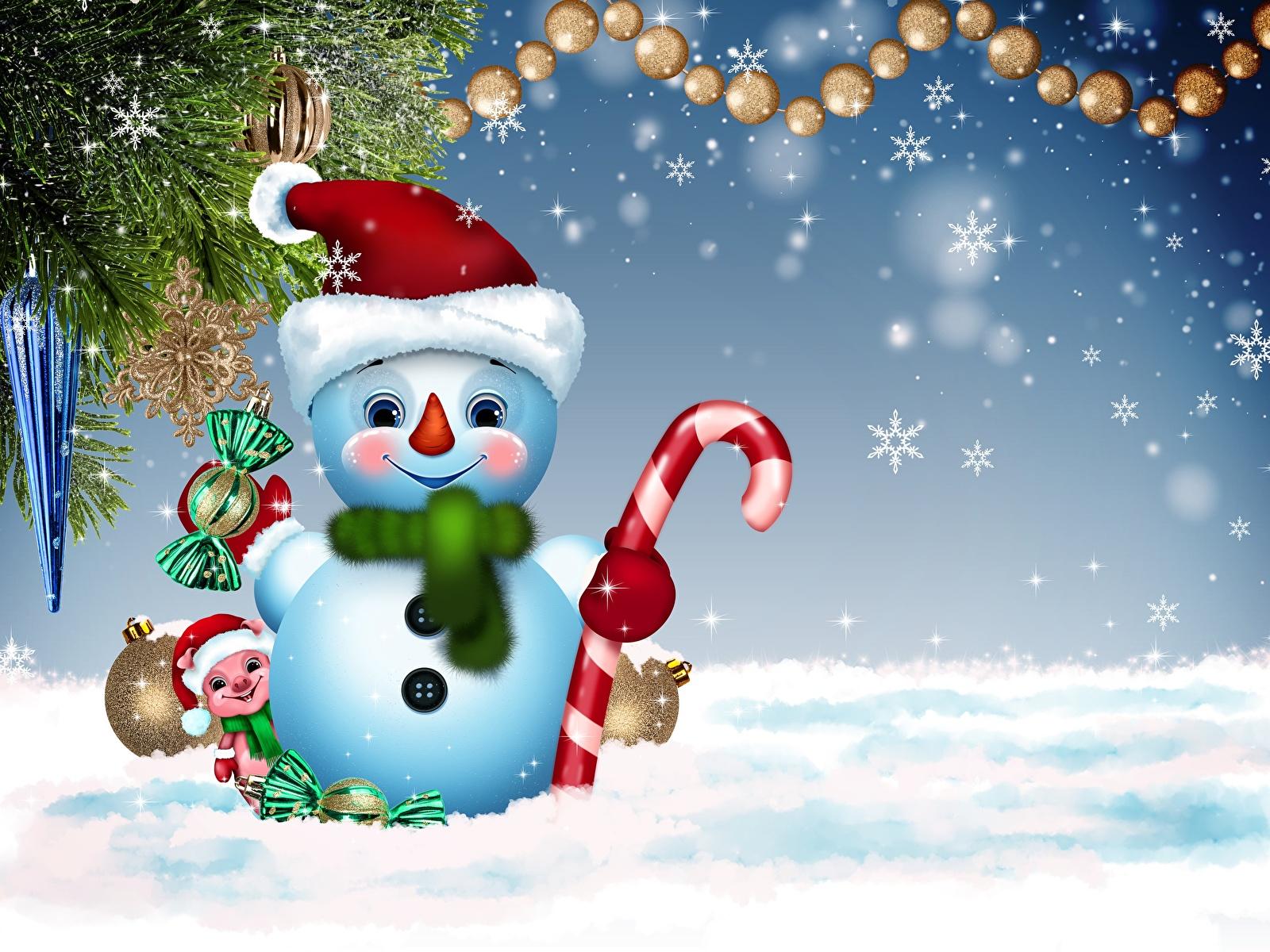 Фотографии Рождество Шарф Шапки снежинка Снеговики 1600x1200 Новый год шарфе шарфом шапка в шапке Снежинки снеговик снеговика