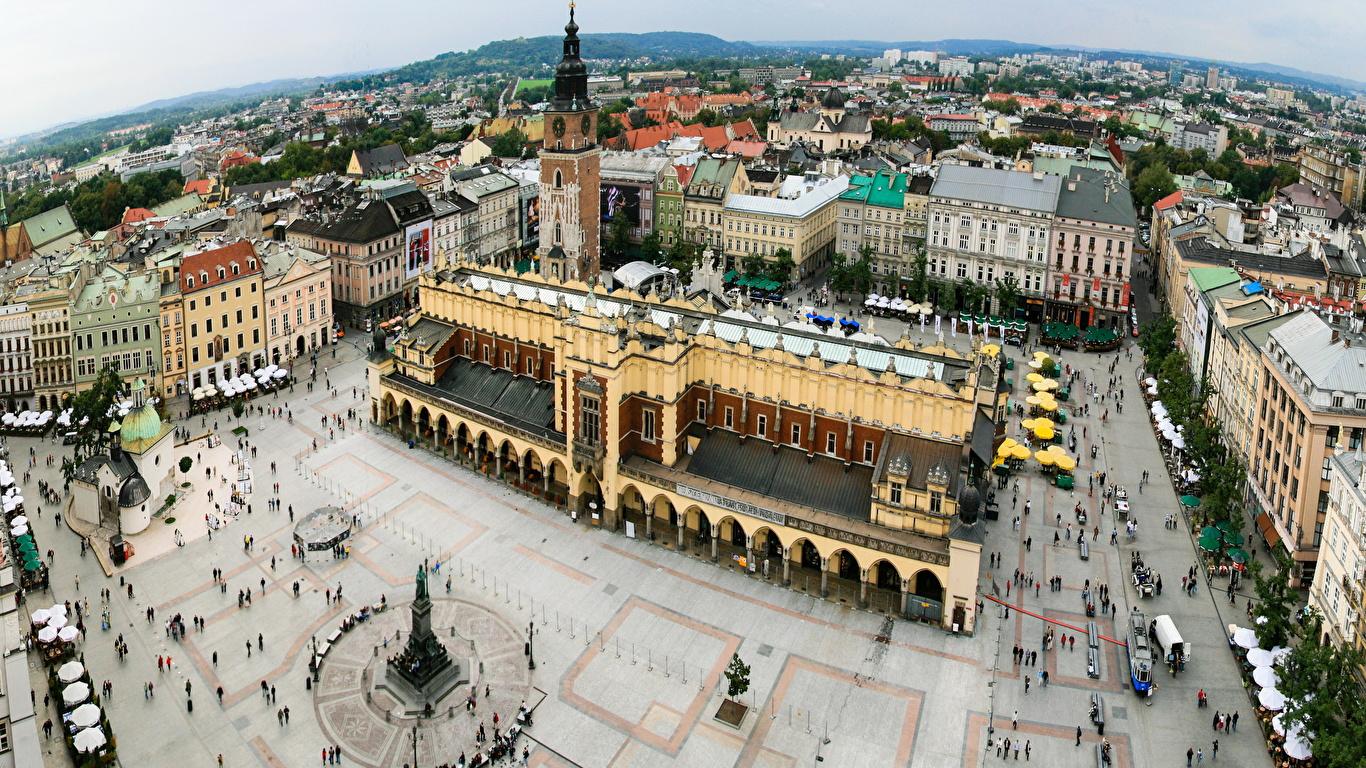 Фотографии Польша Krakov Сверху Горизонт Дома город 1366x768 горизонта Здания Города