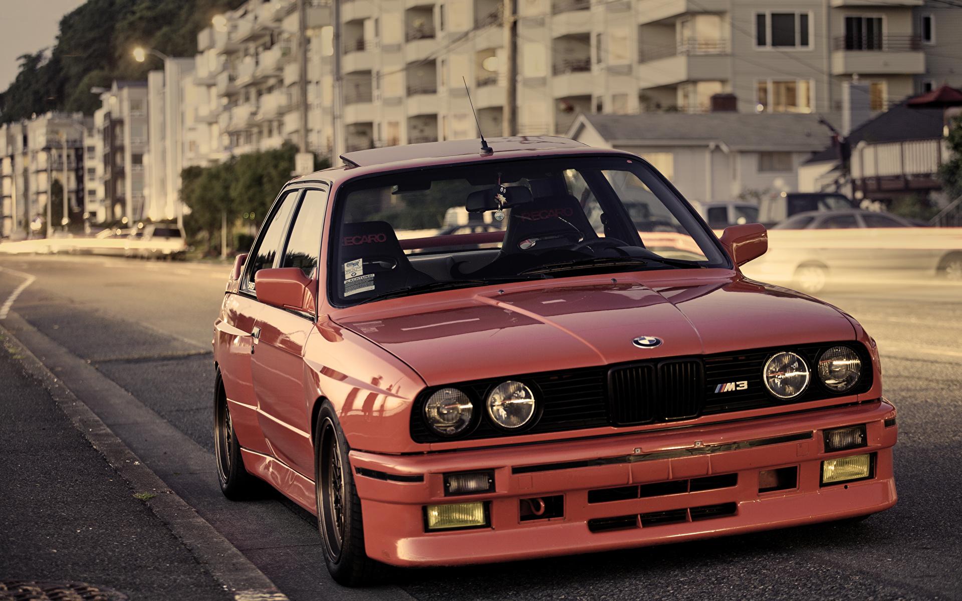 Фотография БМВ M3 E30 красных Фары Спереди автомобиль 1920x1200 BMW красная красные Красный фар авто машины машина Автомобили