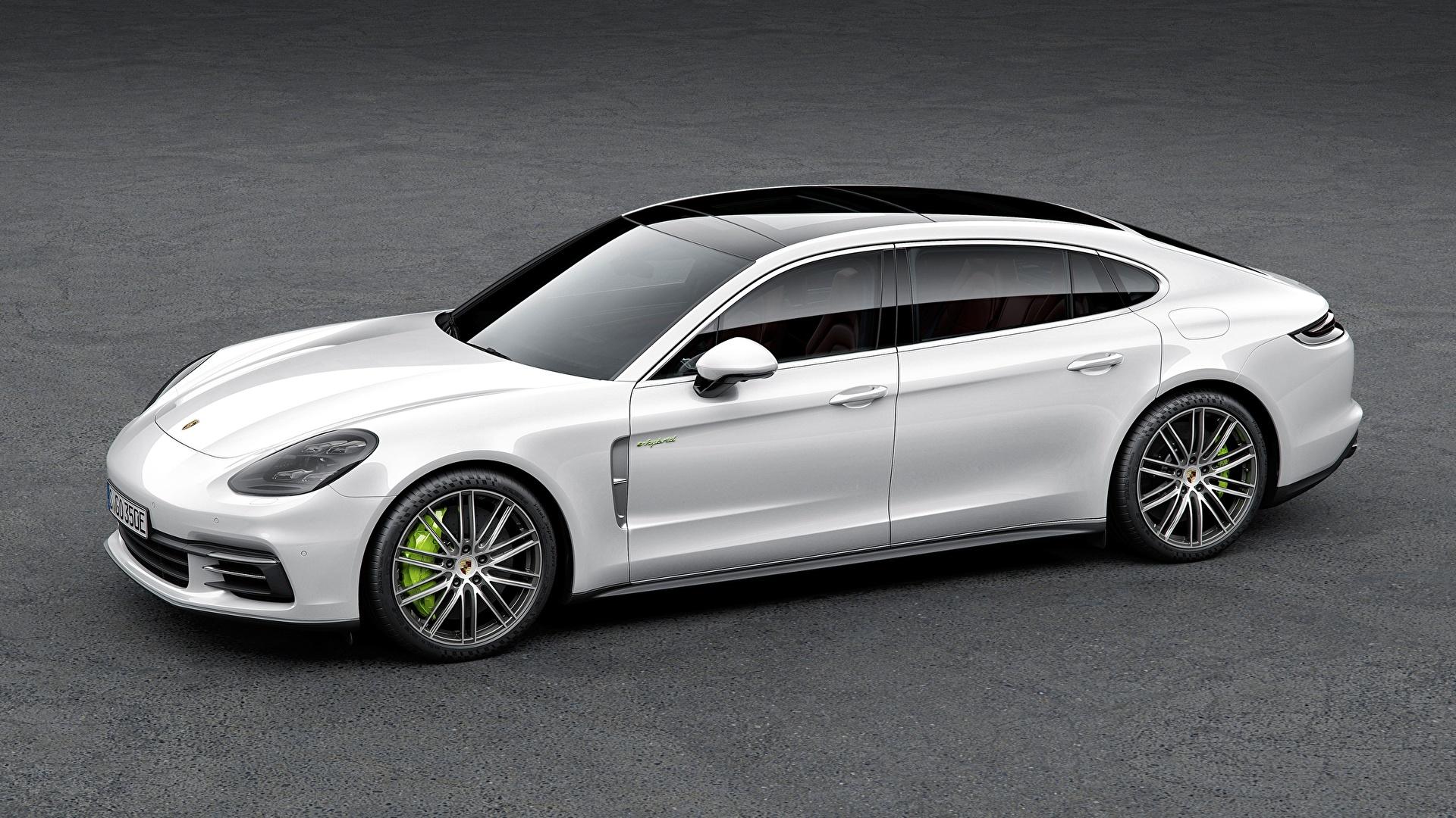 Обои для рабочего стола Порше Panamera 4, E-Hybrid Executive, 2016, Liftback Белый Сбоку автомобиль 1920x1080 Porsche белая белые белых авто машины машина Автомобили