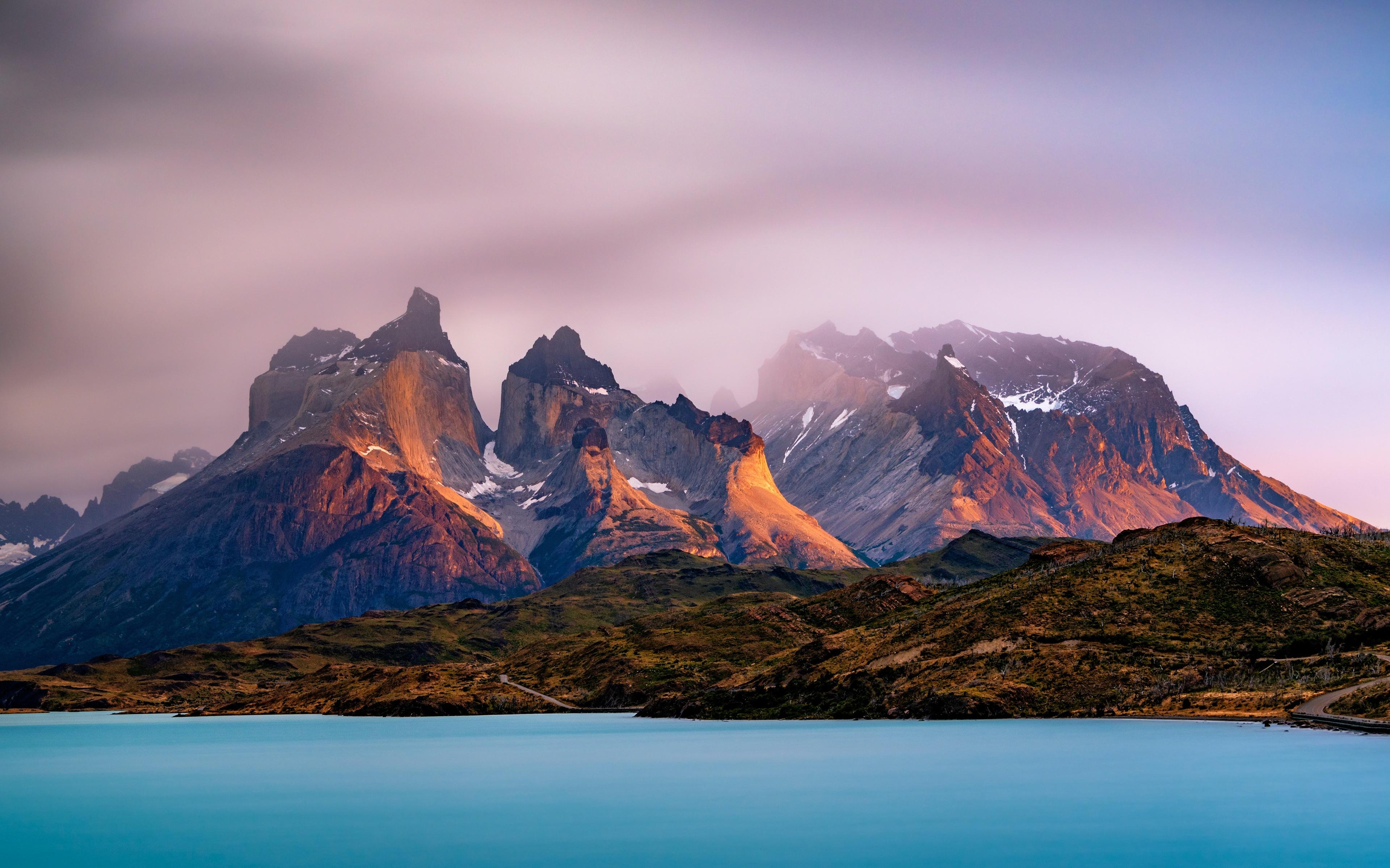 Обои для рабочего стола Аргентина Lago Argentino, Andes, Patagonia, Santa Cruz Горы Природа Озеро 3840x2400 гора