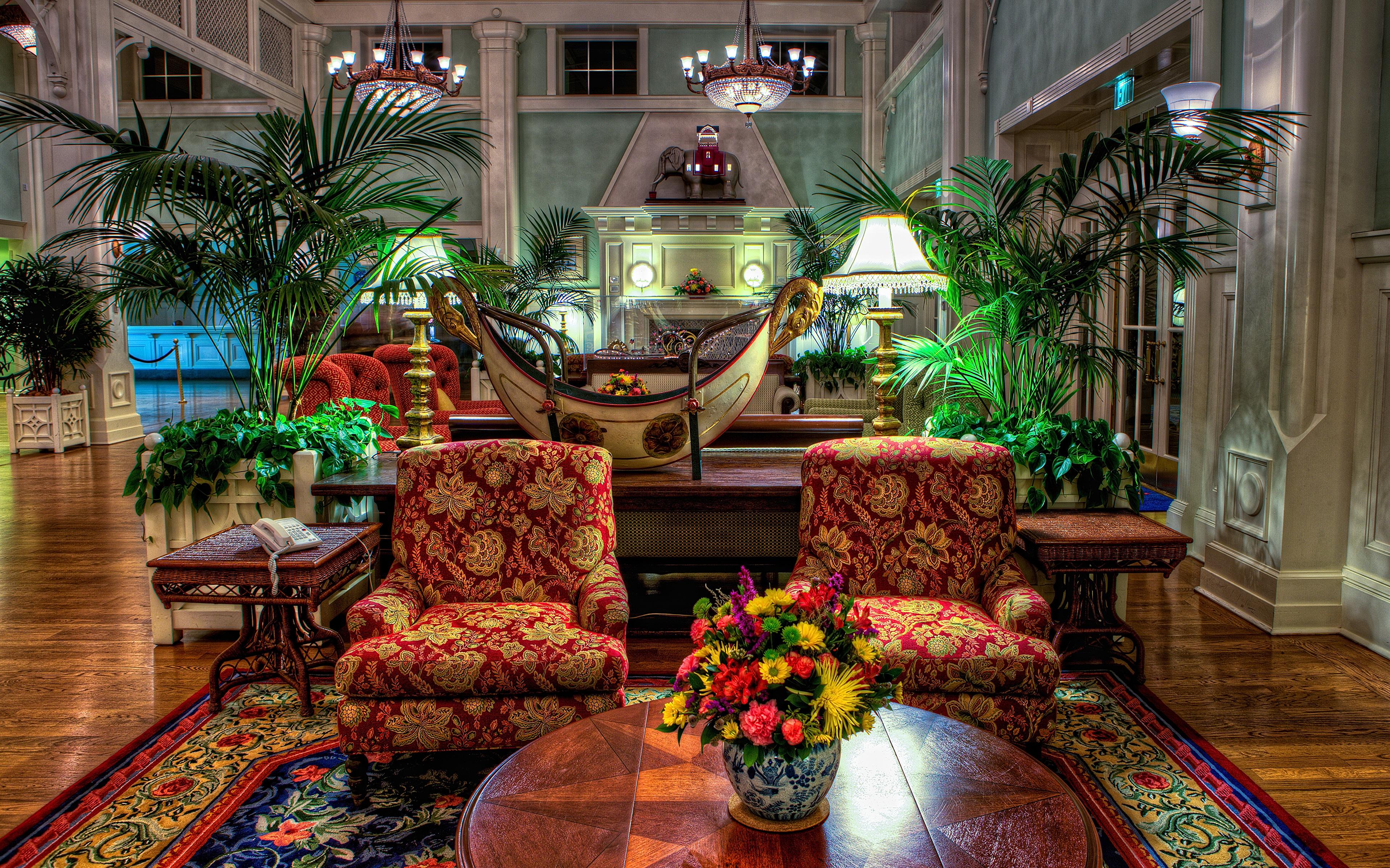 Фотография Диснейленд США HDR парк Интерьер Кресло Дизайн 3840x2400 штаты америка HDRI Парки дизайна