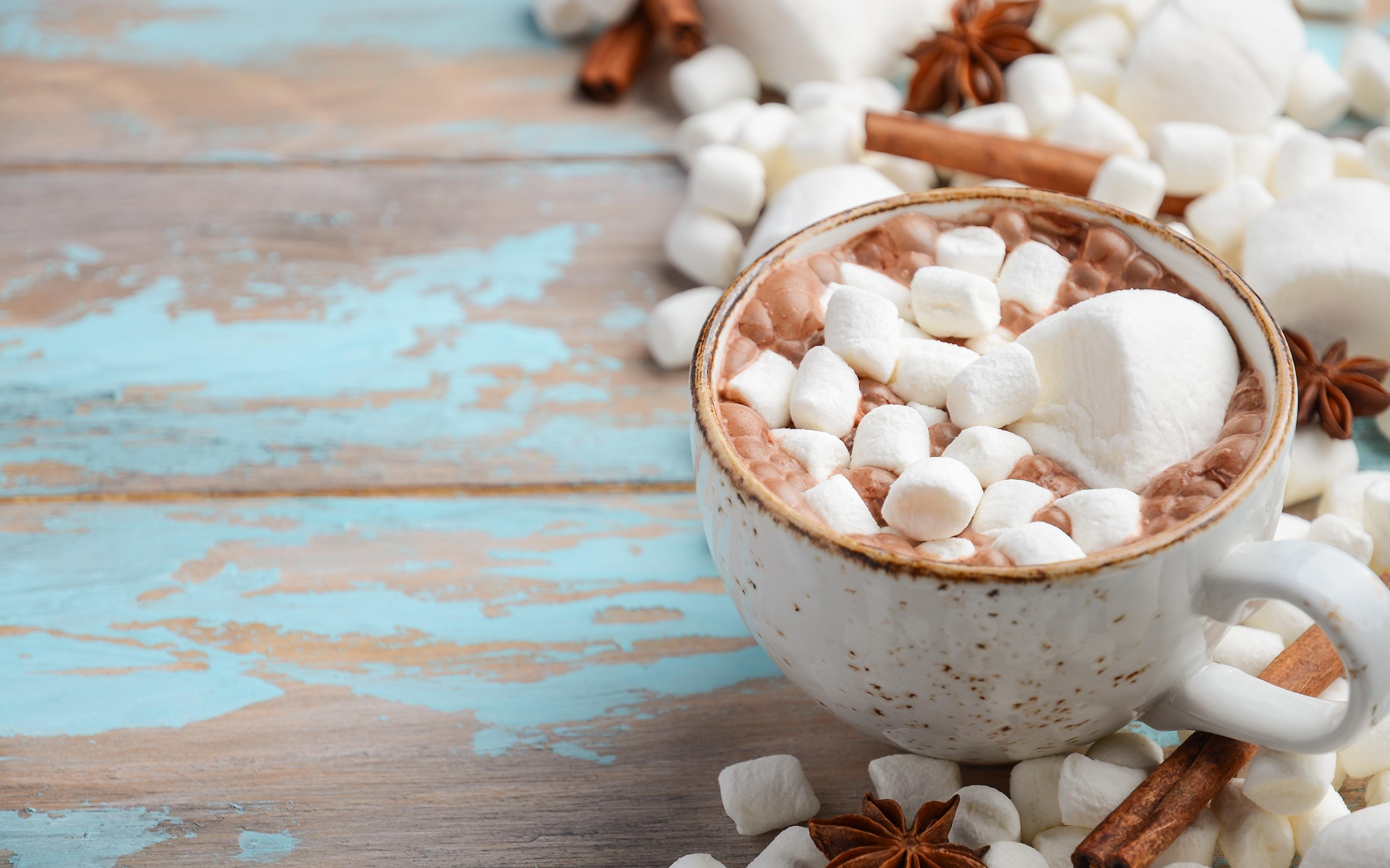 Картинки Маршмэллоу Горячий шоколад Еда кружки 3840x2400 зефирки Какао напиток Пища Кружка кружке Продукты питания