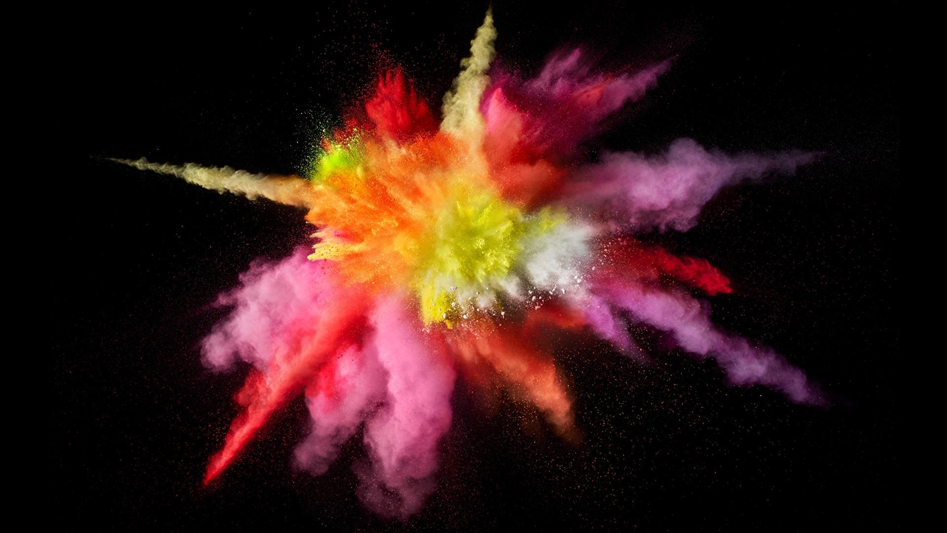 Фото Порошок Взрывы Краски на черном фоне 1920x1080 порошке Черный фон