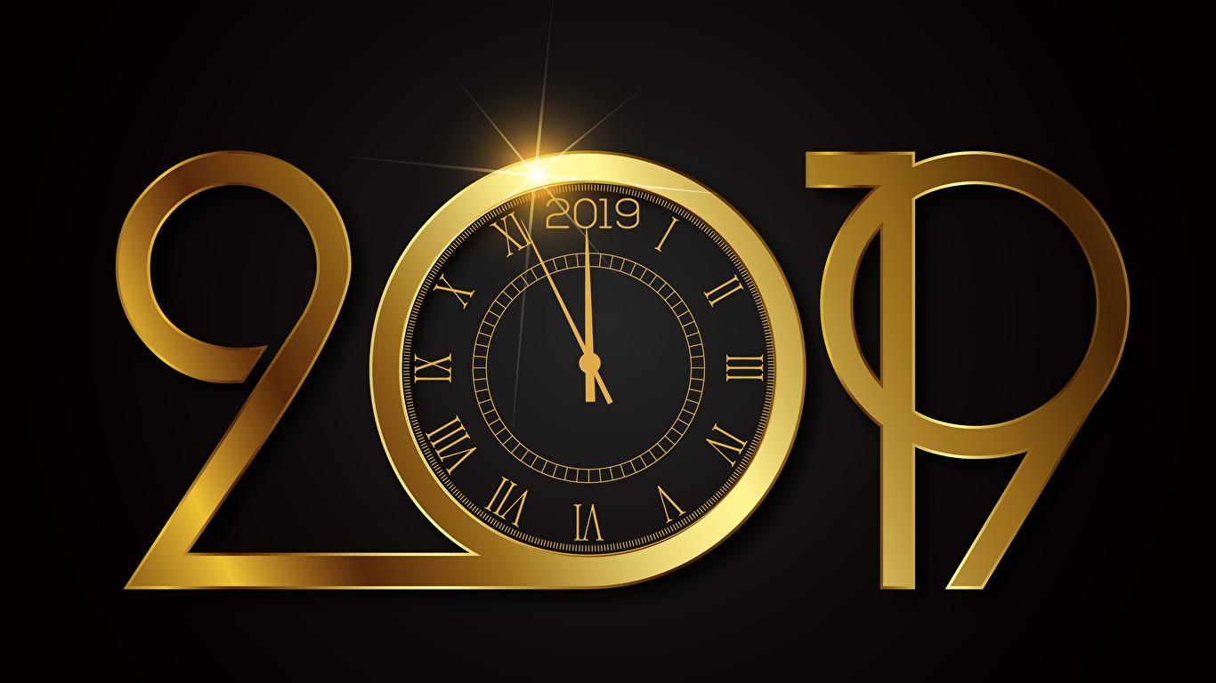 Фотография 2019 Новый год Часы Циферблат Черный фон 1366x768