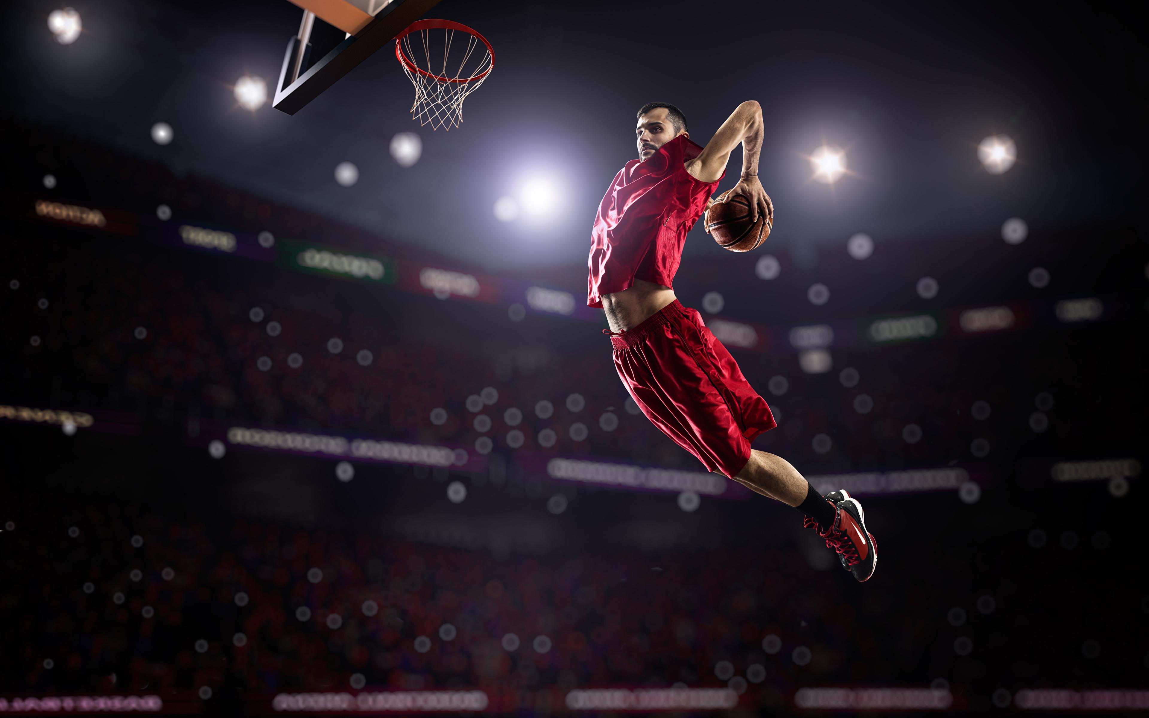 Обои Мужчины Спорт Баскетбол Прыжок Мяч 3840x2400 b01438f21f278