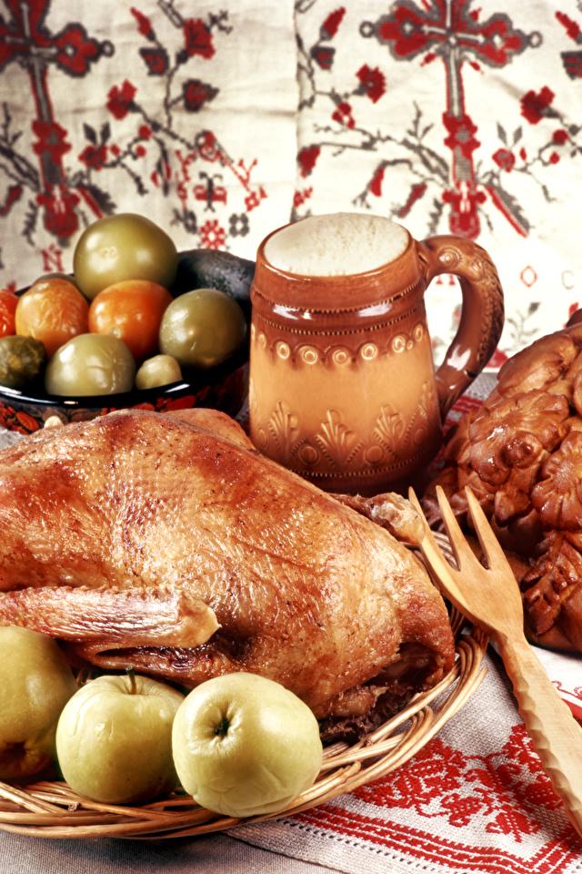 Обои для рабочего стола Яблоки Курица запеченная Продукты питания 640x960 для мобильного телефона Еда Пища