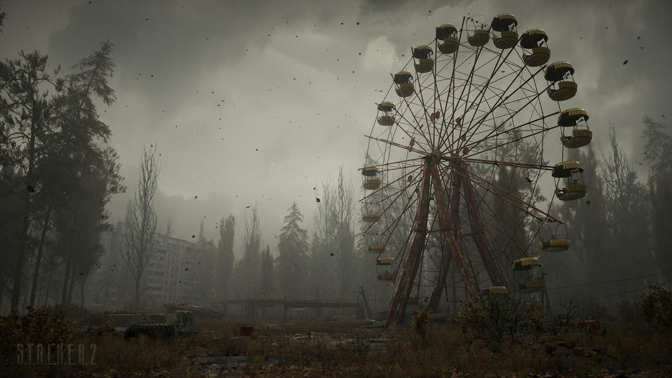 Фото Сталкер 2 Чернобыль колесом обозрения Игры 2560x1440 STALKER 2 Колесо обозрения компьютерная игра
