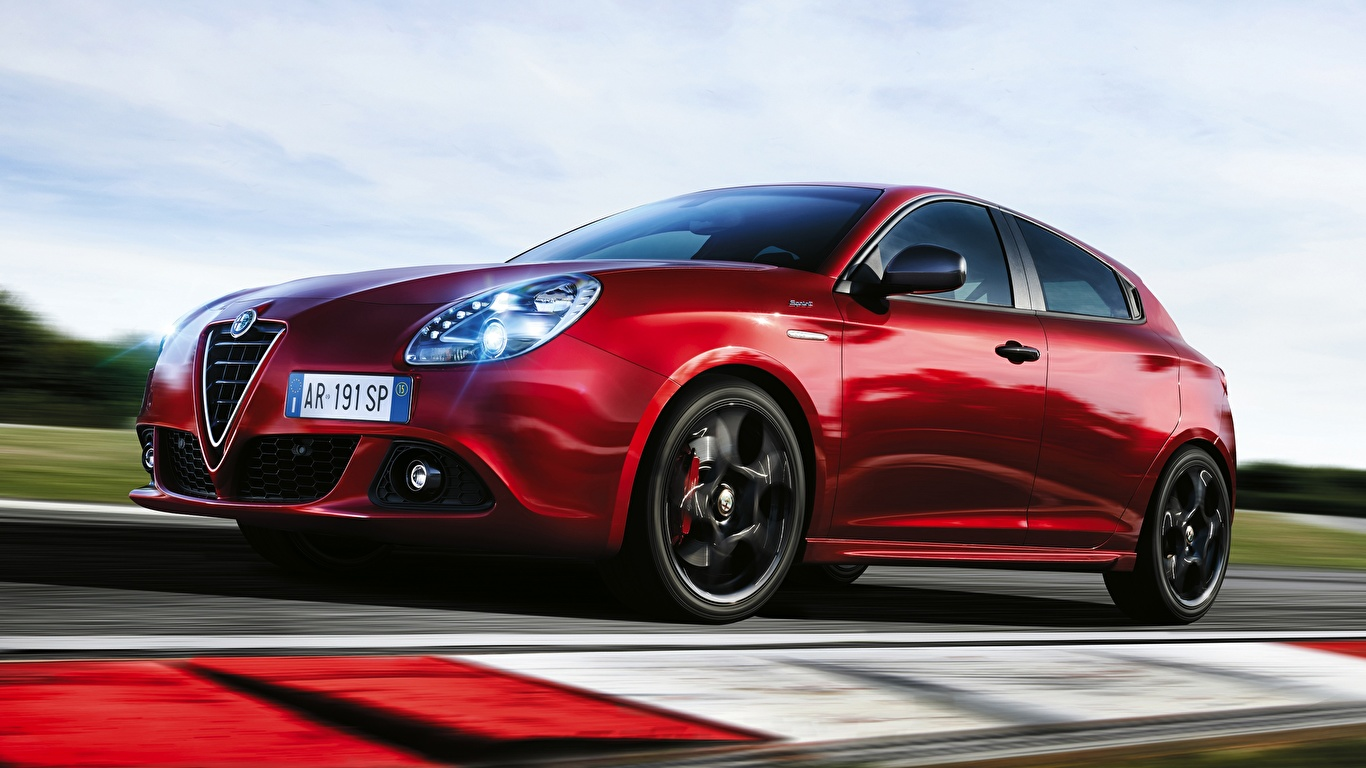 Фотография Alfa Romeo Размытый фон красных скорость авто 1366x768 Альфа ромео боке красная красные Красный едет едущий едущая Движение машина машины Автомобили автомобиль
